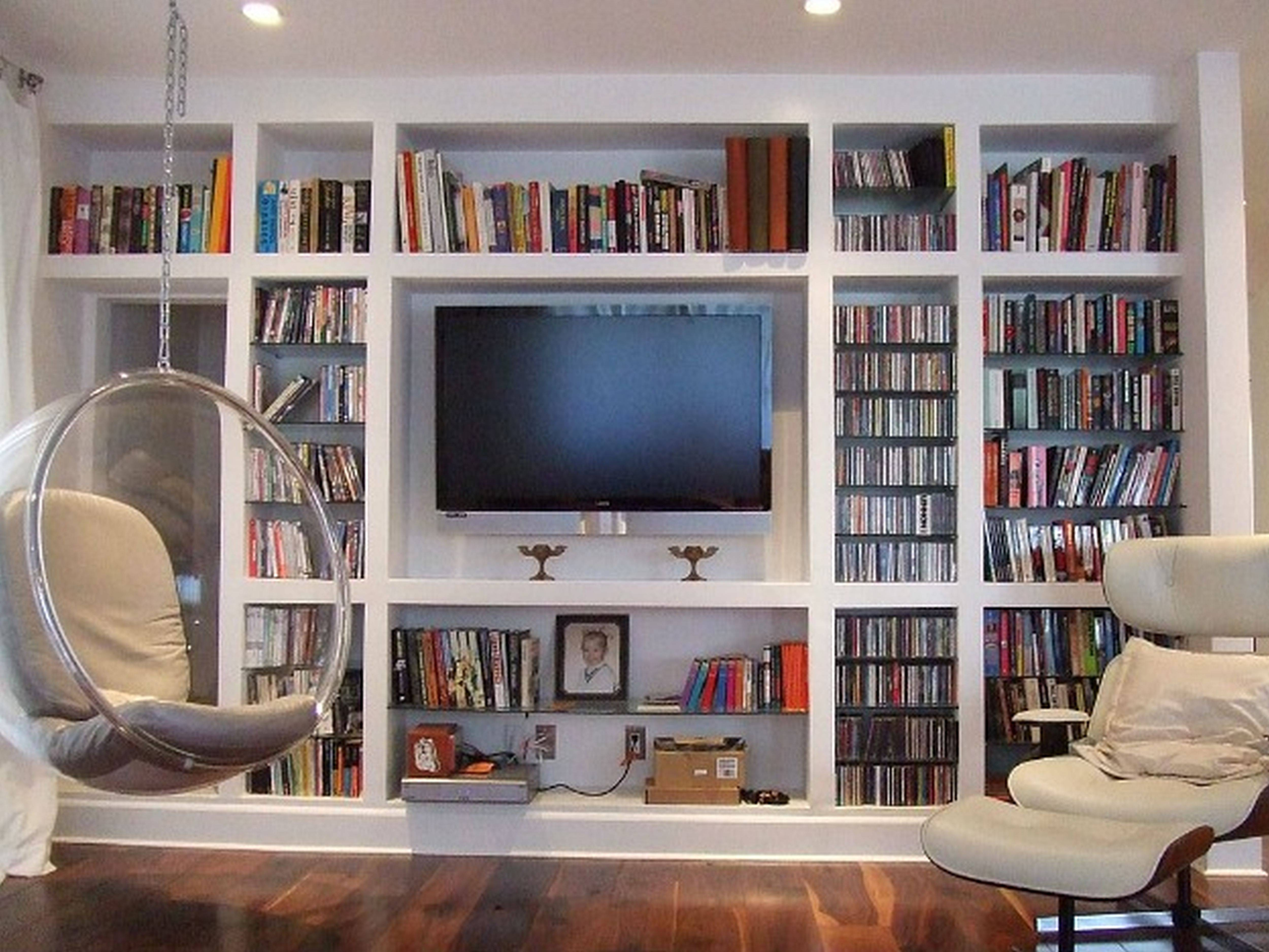 Furniture Wall Mount Bookshelves With Wood Ladder And Built In Tv For Tv Stands With Bookcases (View 3 of 15)