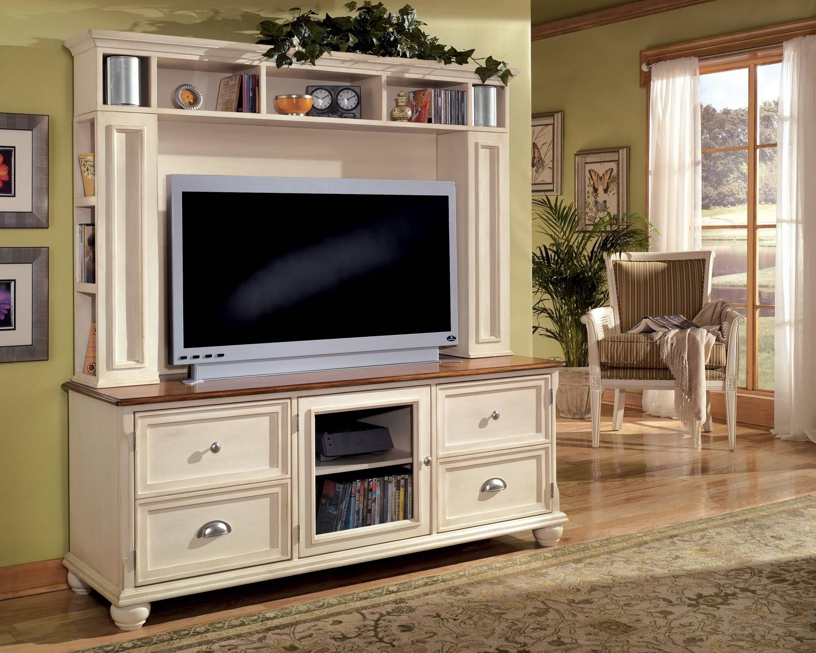 Furniture. White Wood French Country Style Big Screen Tv Stand pertaining to Country Style Tv Cabinets (Image 8 of 15)