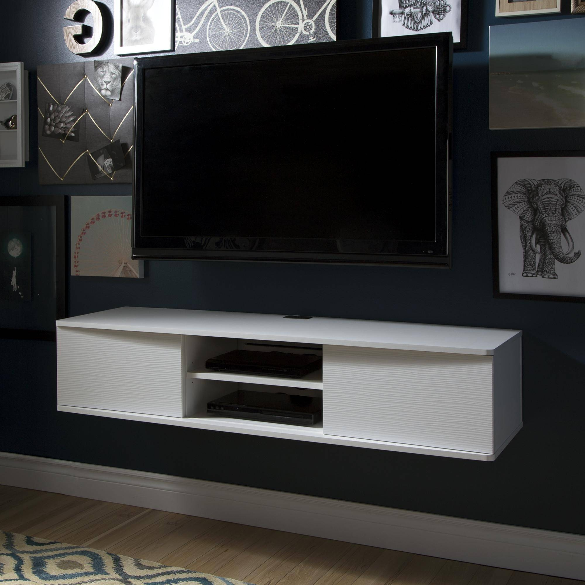 15 best white wall mounted tv stands for Floating tv stand living room furniture