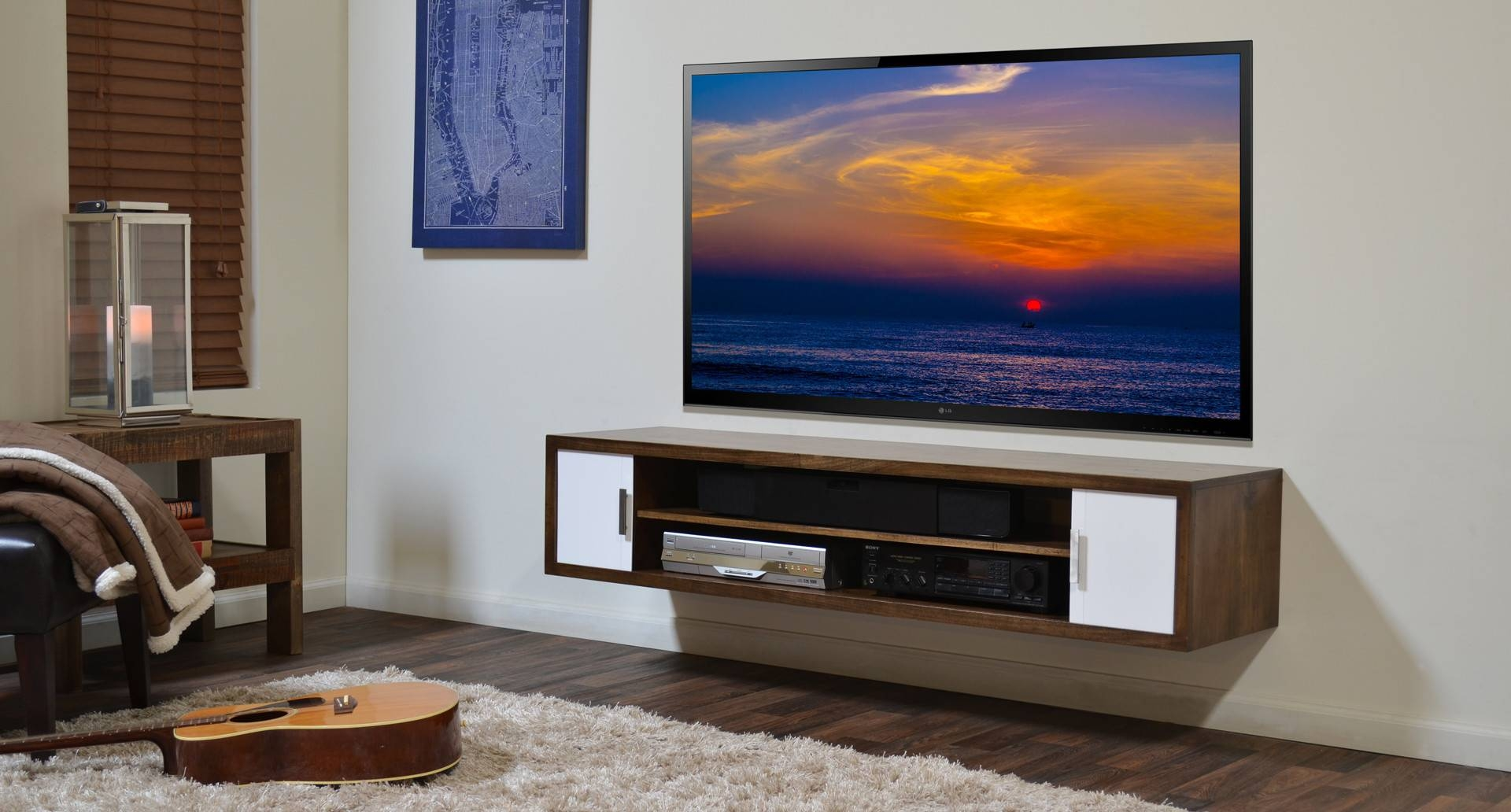 Furniture. Wood Floating Entertainment Shelf With Single Door for Single Shelf Tv Stands (Image 7 of 15)