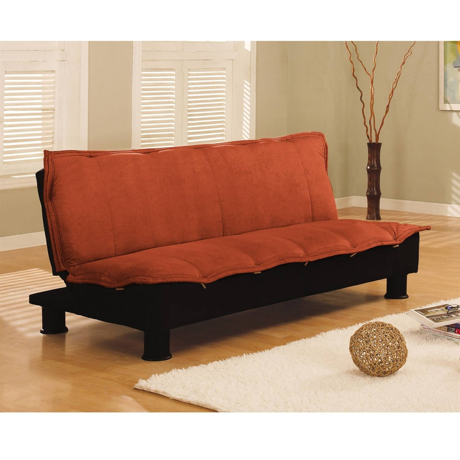 Futon Sofa Bed Click Clack | Centerfieldbar within Faux Leather Futon Sofas (Image 10 of 15)