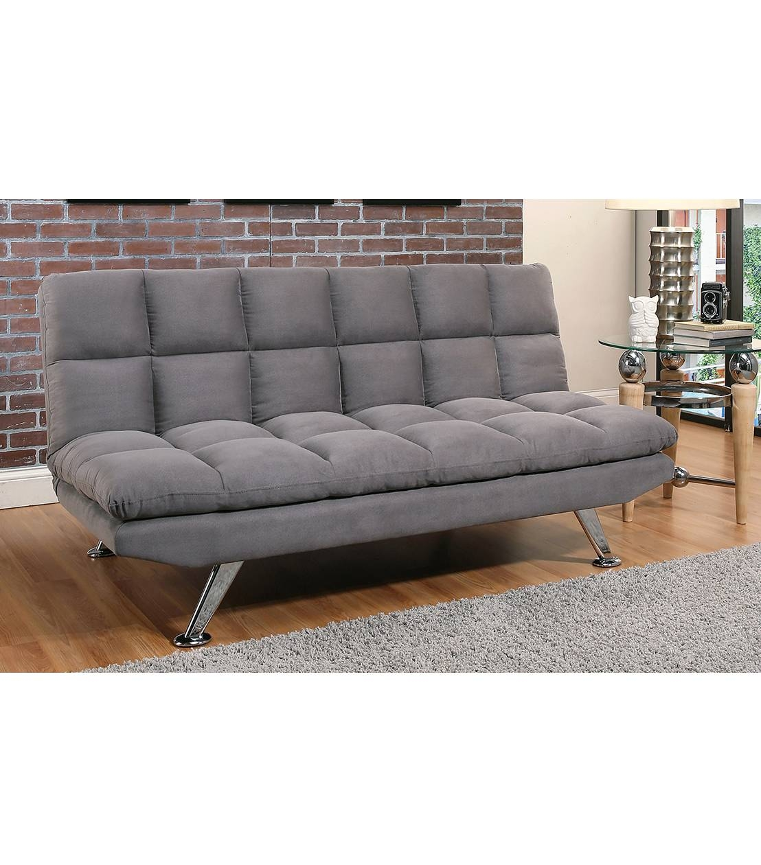 Futons : Clarence Grey Fabric Euro Lounger for Euro Loungers (Image 7 of 15)