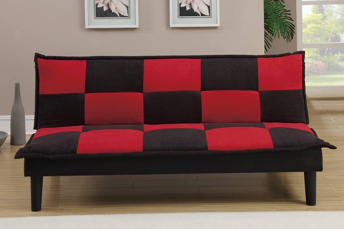 Futons & Sofa Beds, Living Room - Red And Black Sofa Bed inside Black And Red Sofas (Image 7 of 15)