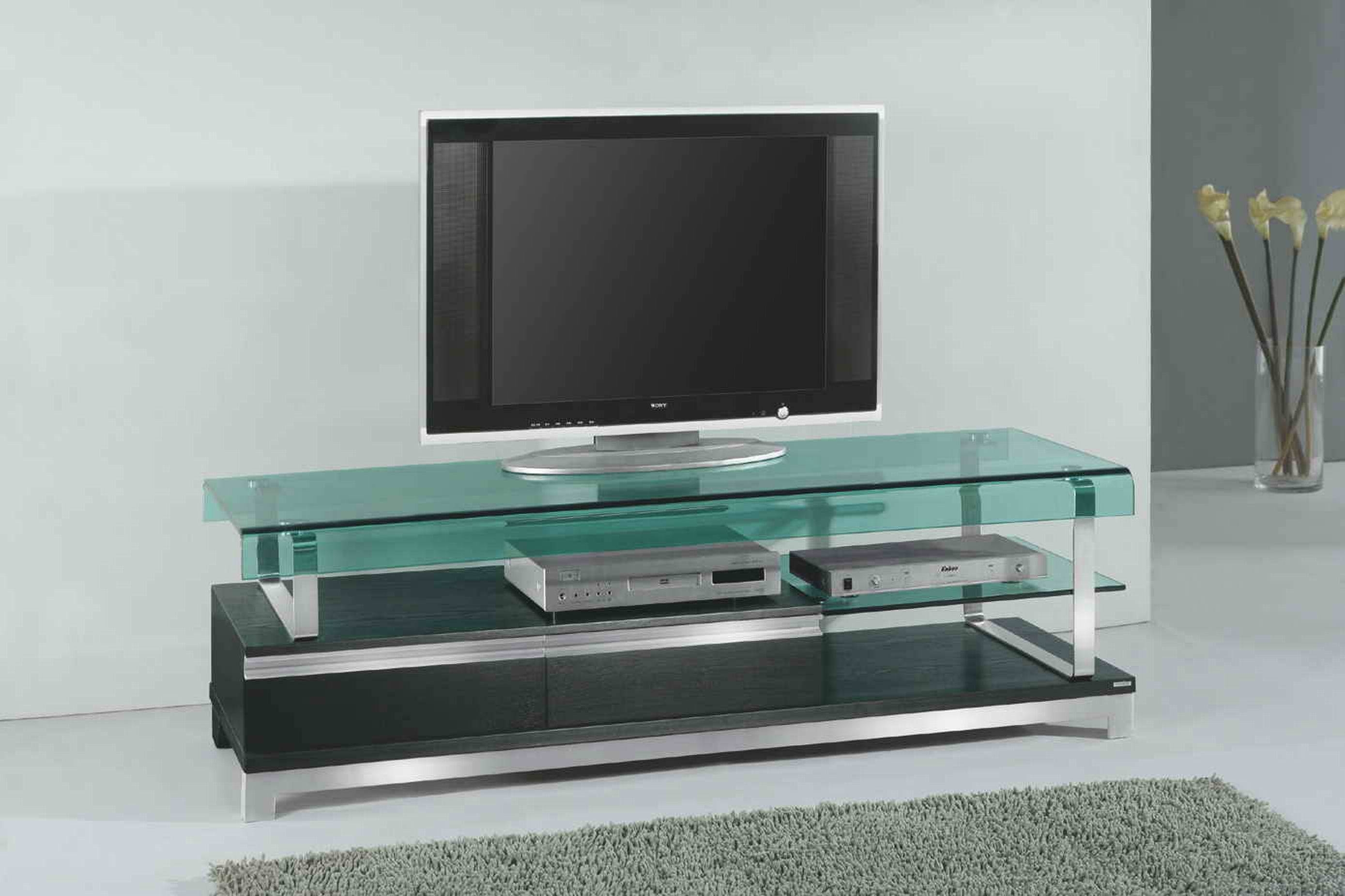 Futuristic Living Room Furniture With Glass Television Wall Stand Regarding Glass Tv Cabinets (View 12 of 15)