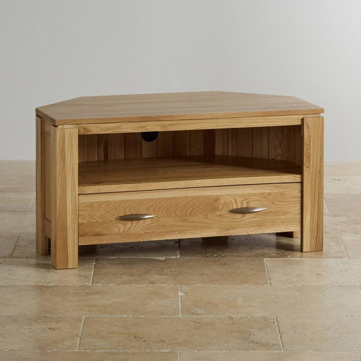 Galway Corner Tv + Dvd Cabinet In Solid Oak | Oak Furniture Land With Regard To Corner Tv Cabinets (View 8 of 15)