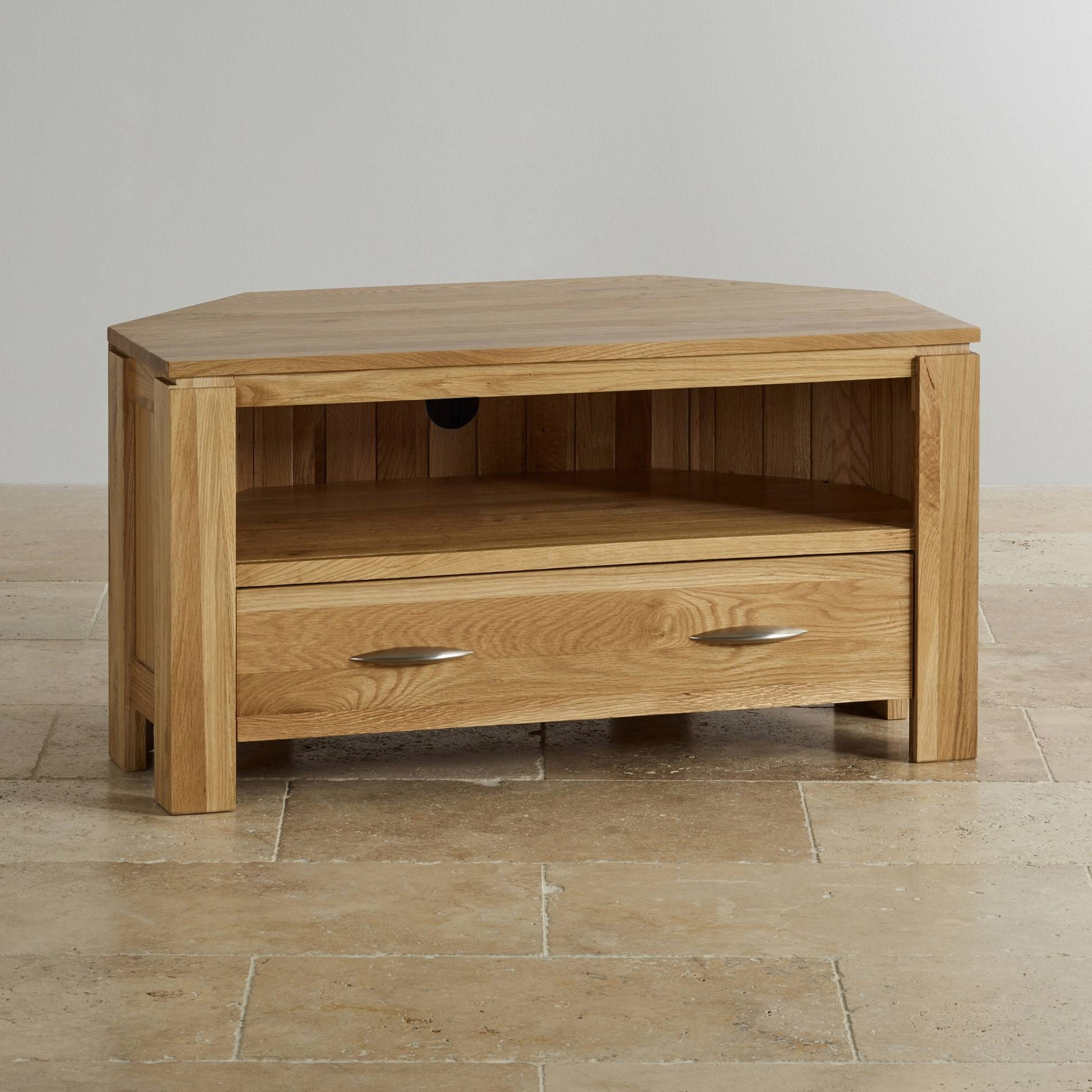 Galway Corner Tv + Dvd Cabinet In Solid Oak | Oak Furniture Land within Oak Corner Tv Cabinets (Image 5 of 15)