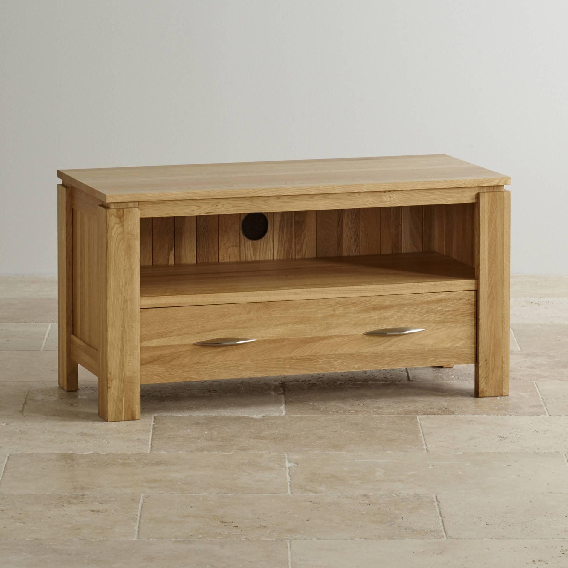 Galway Natural Solid Oak Tv + Dvd Stand | Living Room Furniture Inside Corner Oak Tv Stands (View 2 of 15)