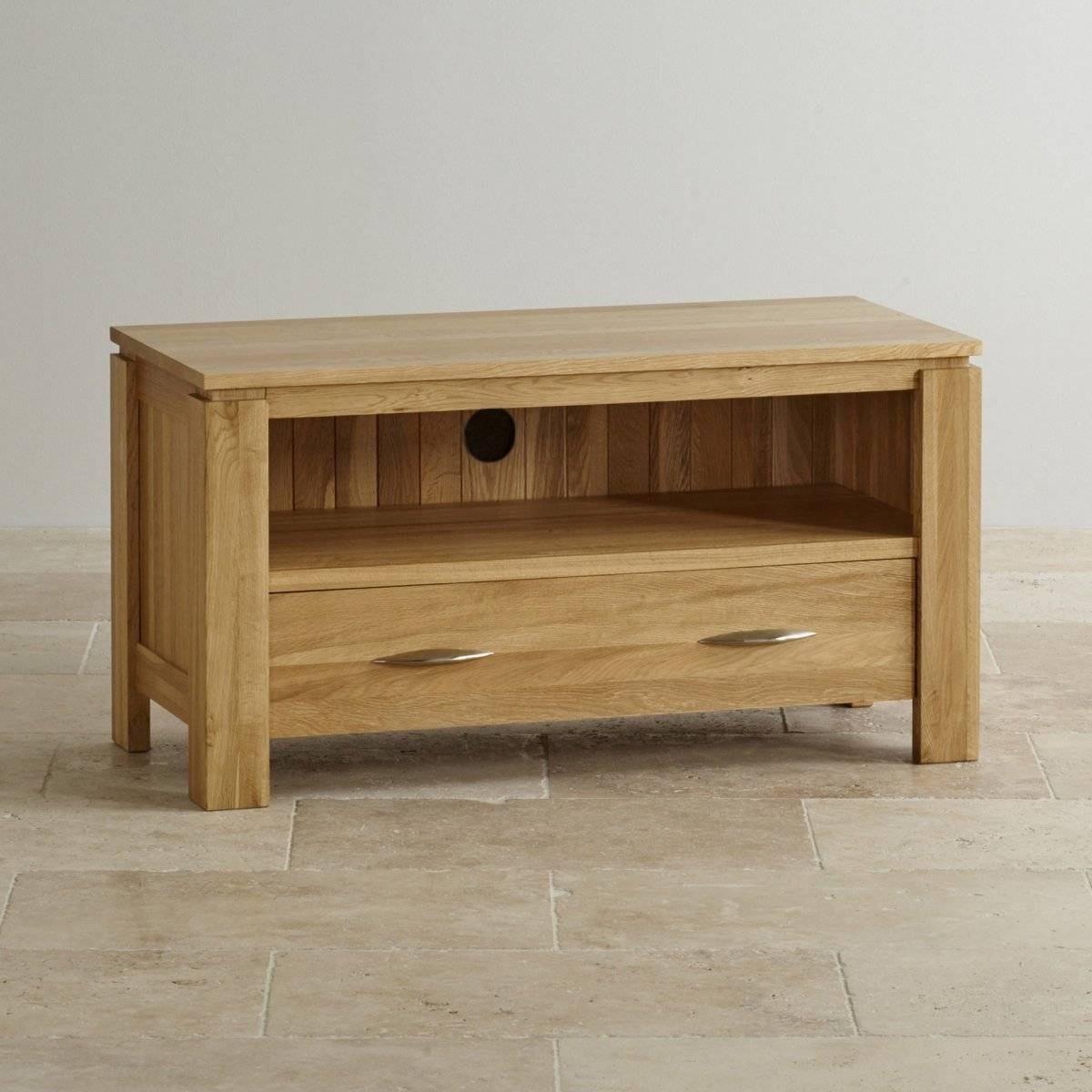 Galway Natural Solid Oak Tv + Dvd Stand | Living Room Furniture within Small Tv Cabinets (Image 3 of 15)