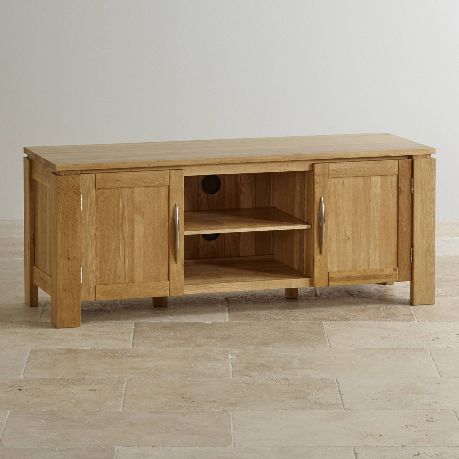 Galway Tv Cabinet In Natural Solid Oak | Oak Furniture Land in Solid Oak Tv Cabinets (Image 7 of 15)