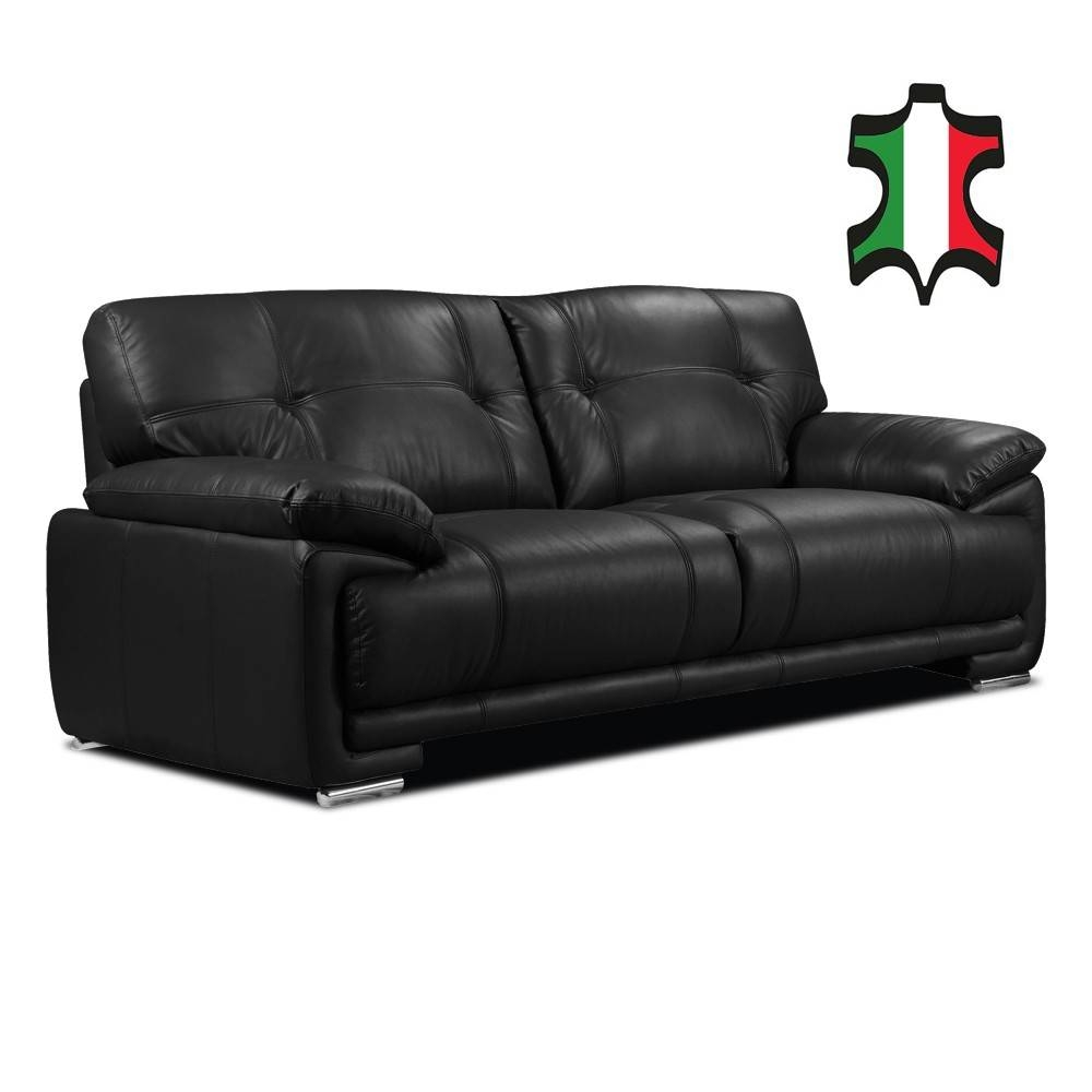 Genuine Italian Leather Sofa Collection In Black inside Italian Leather Sofas (Image 2 of 15)