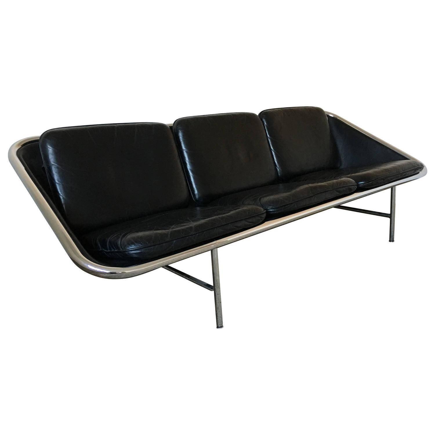 George Nelson Black Leather Sling Sofa, Herman Miller, Circa 1960 in George Nelson Sofas (Image 5 of 15)