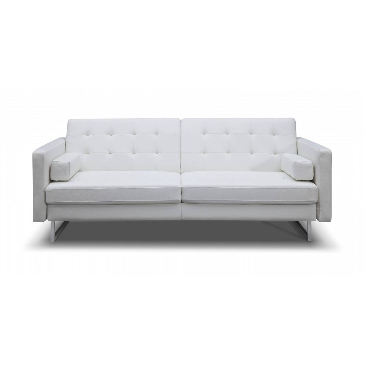 Giovanni Sofa Bed | White Faux Leather, White Line Imports in Faux Leather Sleeper Sofas (Image 10 of 15)