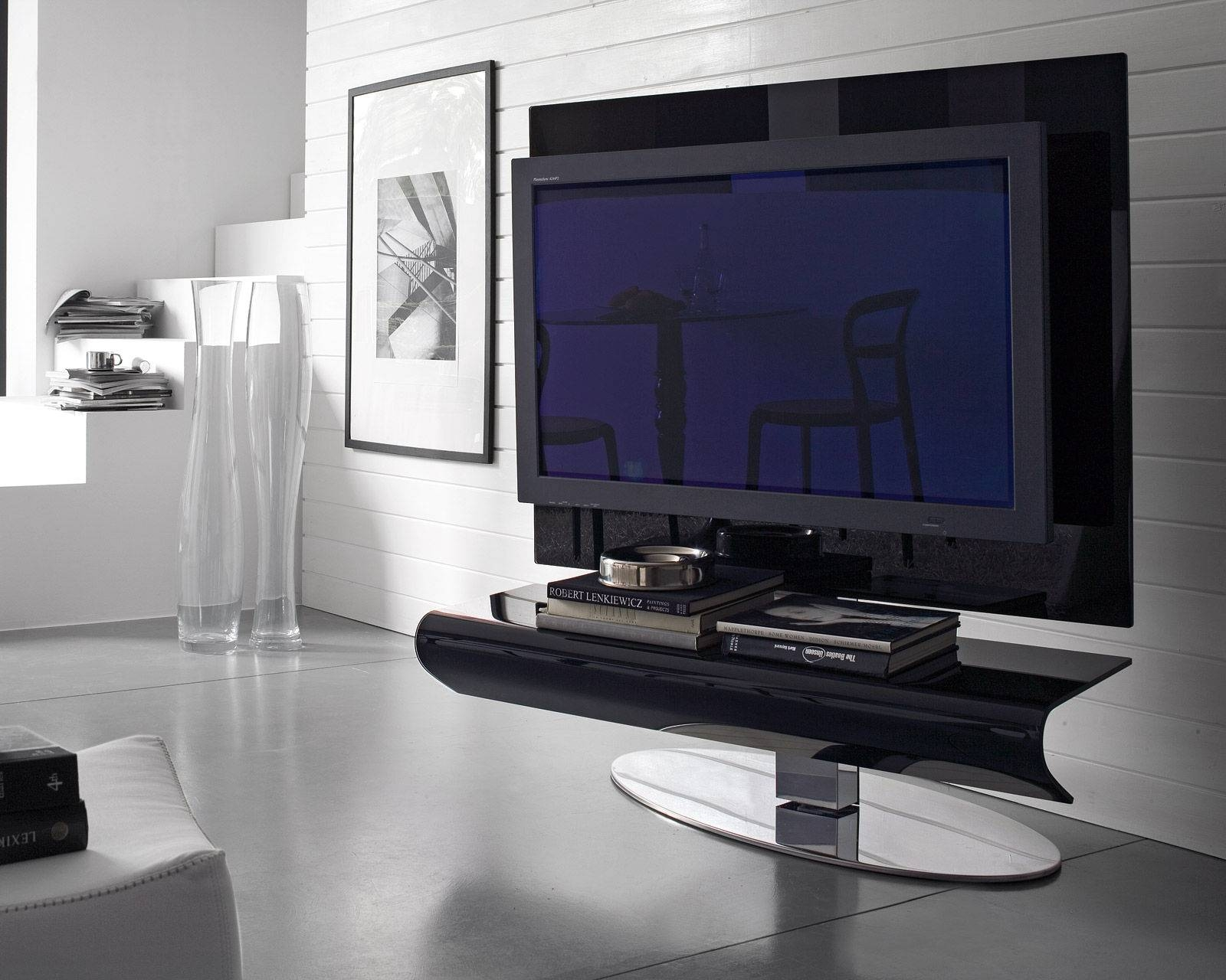 Glossy Black Acrylic Flat Screen Tv Stand With Oval Chromed Metal with Contemporary Tv Stands For Flat Screens (Image 4 of 15)
