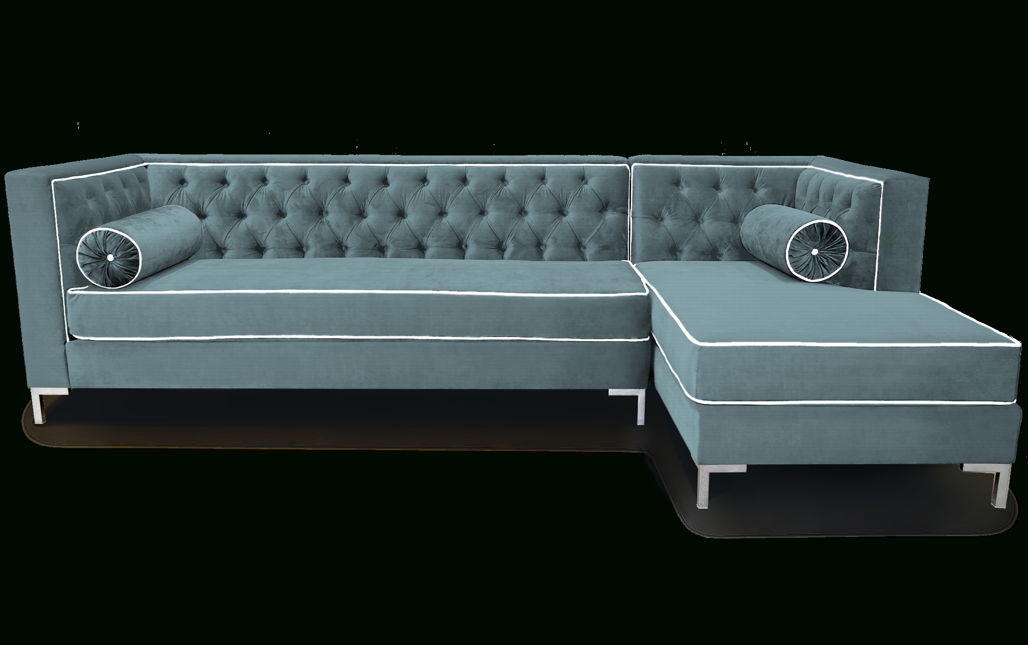 Gray Color Modern Tufted Sectional Sleeper Sofa With Pillow And within Tufted Sleeper Sofas (Image 7 of 15)