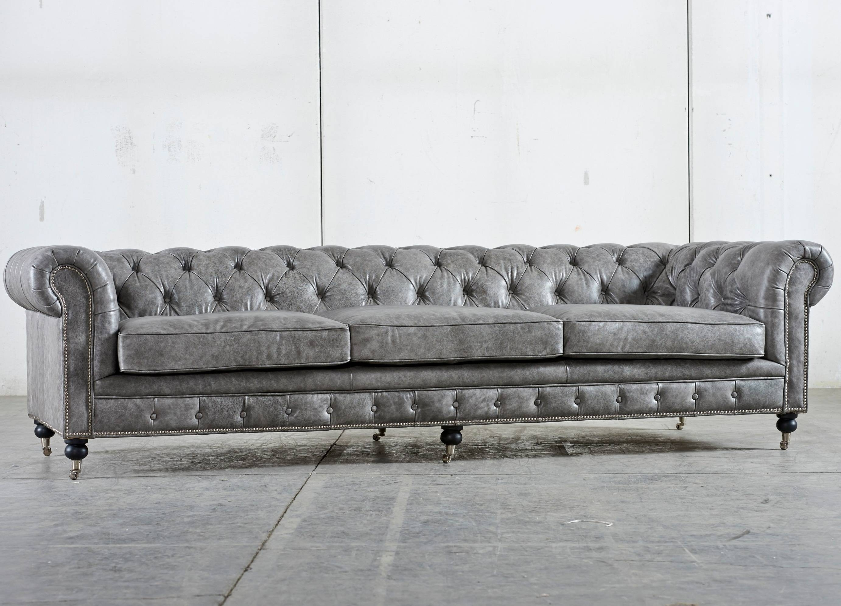 Gray Color Tufted Leather Sleeper Sofa With Stainless Steel Legs regarding Tufted Sleeper Sofas (Image 8 of 15)