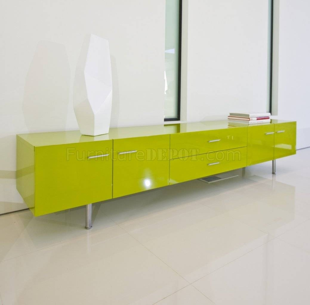 Green High Gloss Finish Modern Tv Stand W/doors & Drawers with Green Tv Stands (Image 4 of 15)