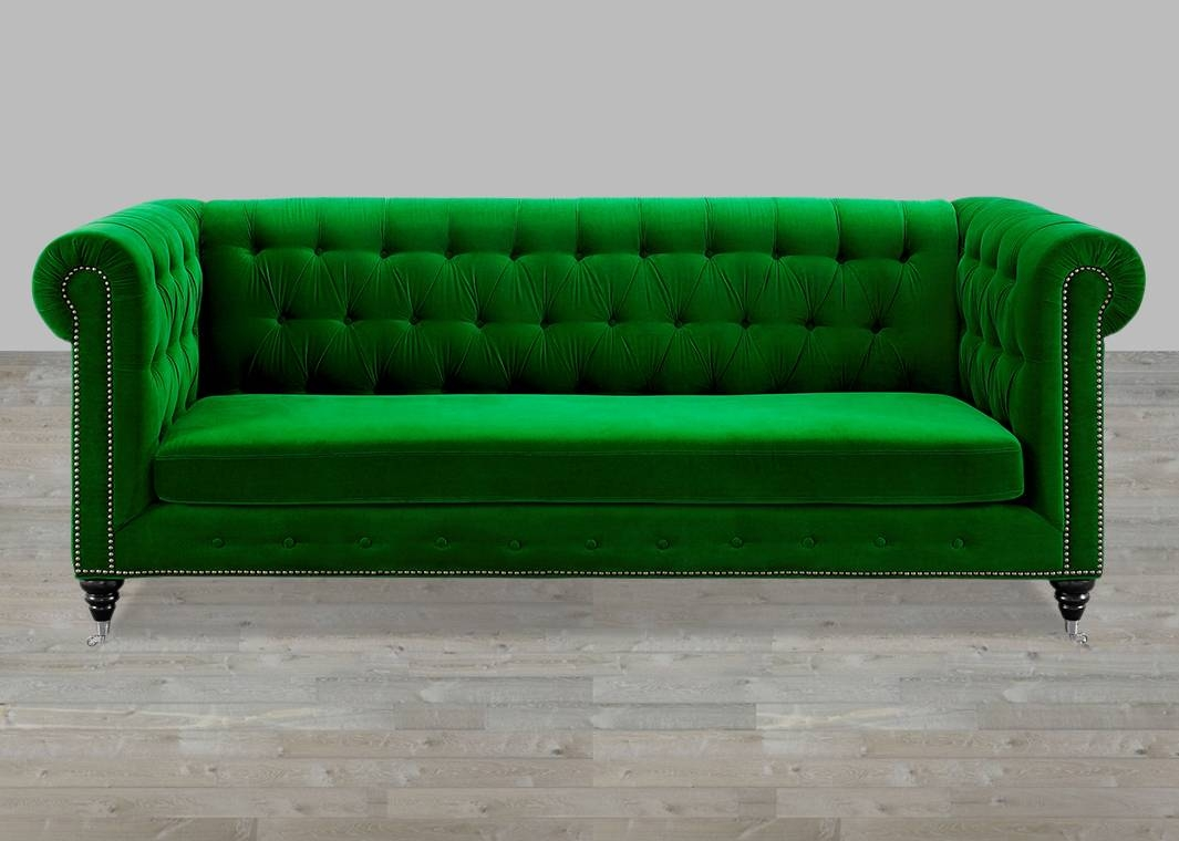 Green Velvet Sofa Button Tufted regarding Silver Tufted Sofas (Image 7 of 15)