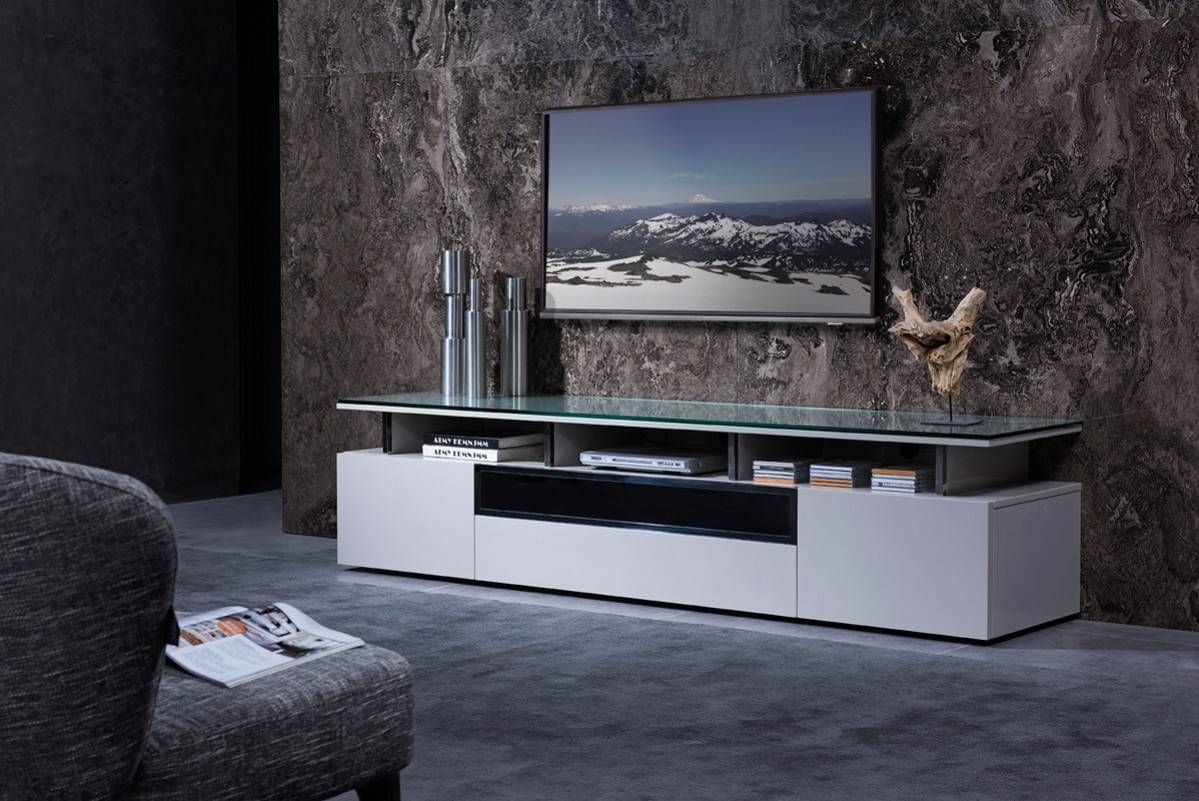 Grey Lacquer Living Room Tv Stand With Glass Top Chicago Illinois Throughout Stylish Tv Stands (View 5 of 15)