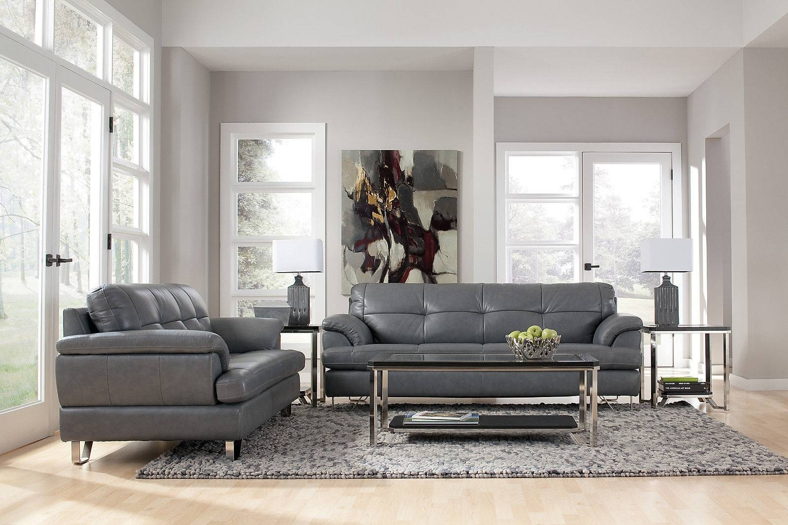 Grey Leather Furniture, Charcoal Leather Sofa Grey Leather Sofas regarding Charcoal Grey Leather Sofas (Image 11 of 15)