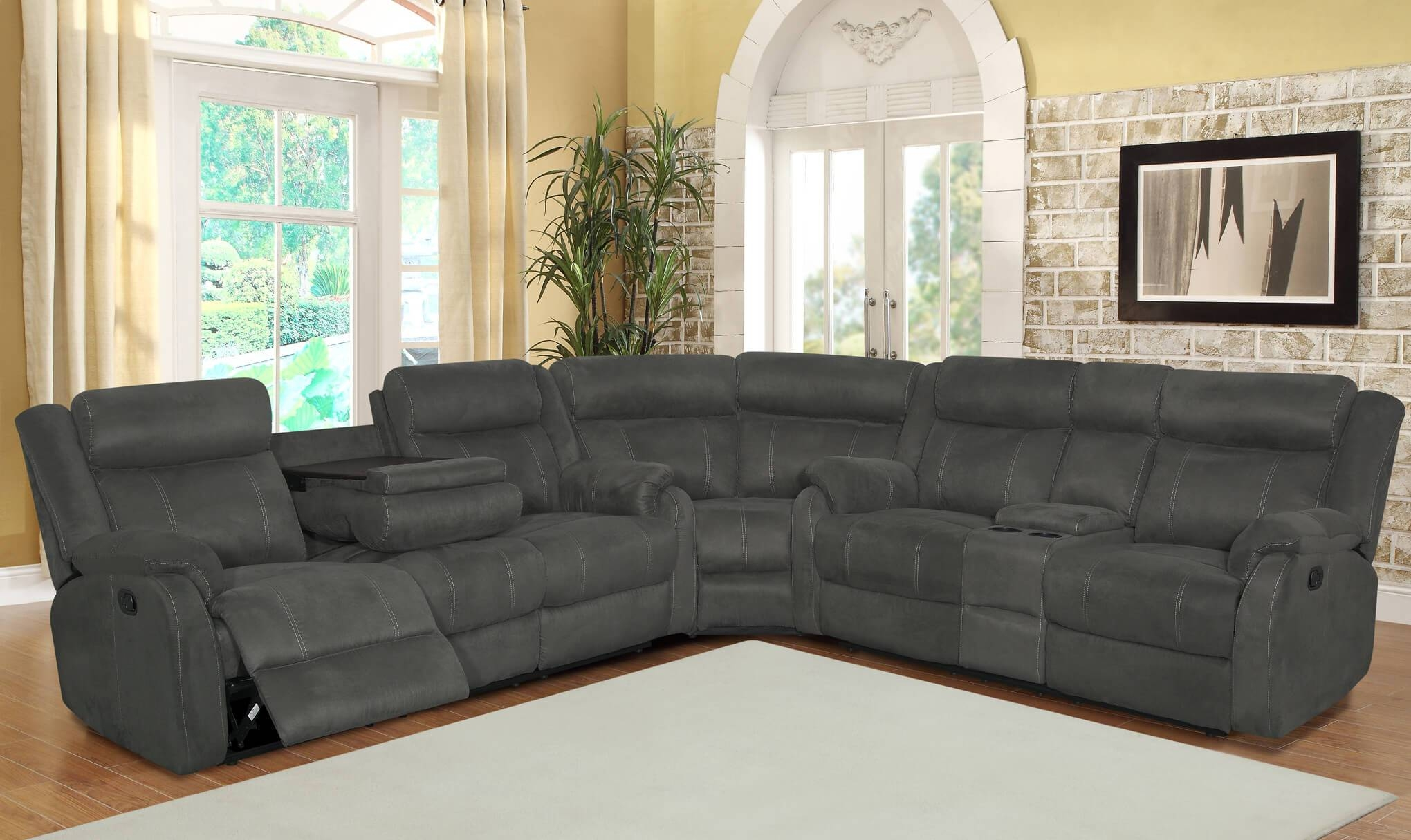 Grey Reclining Sectional | Sectional Sofa Sets within Charcoal Gray Sectional Sofas (Image 9 of 15)