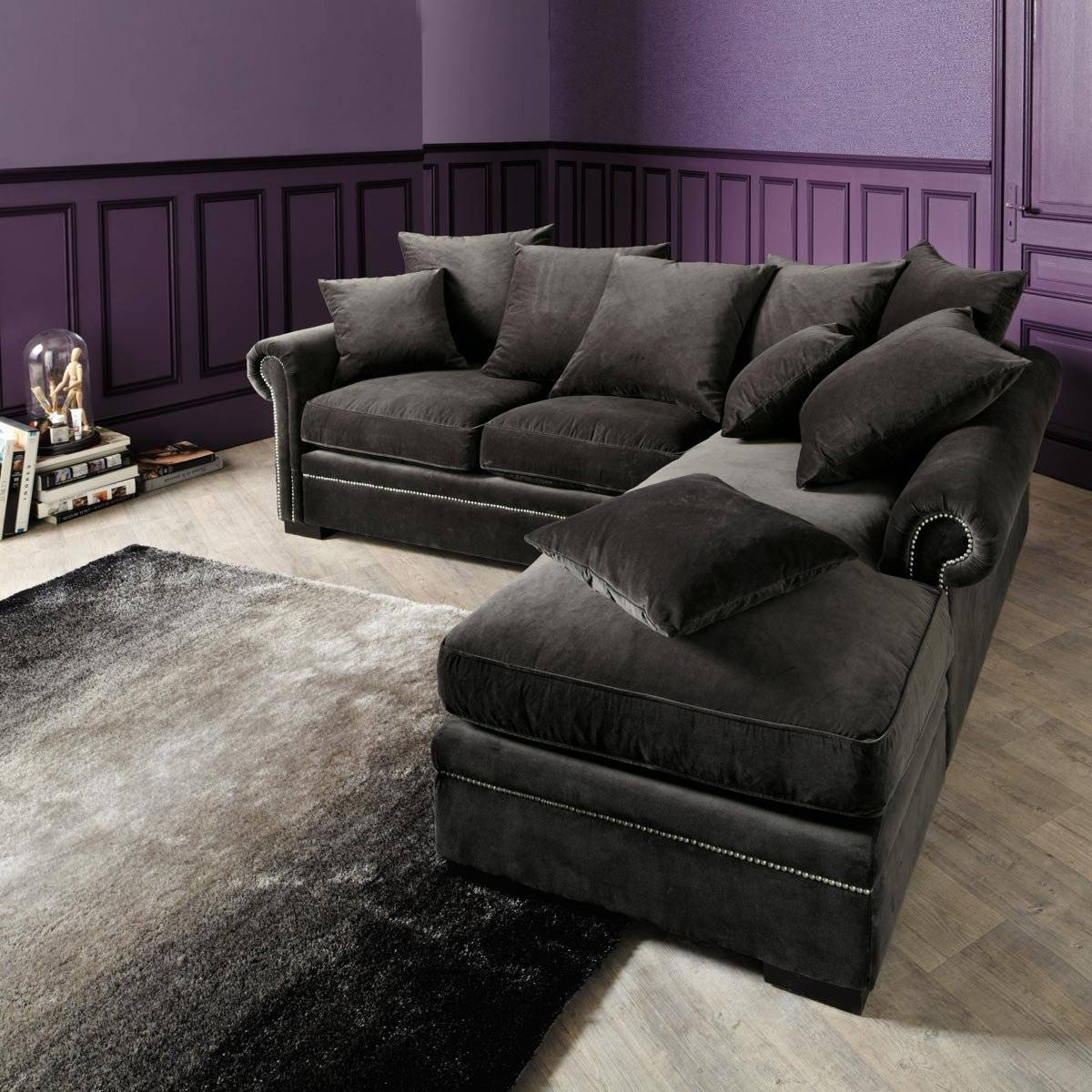 Grey Velvet Sofa Sectional | Centerfieldbar with regard to Charcoal Gray Sectional Sofas (Image 10 of 15)