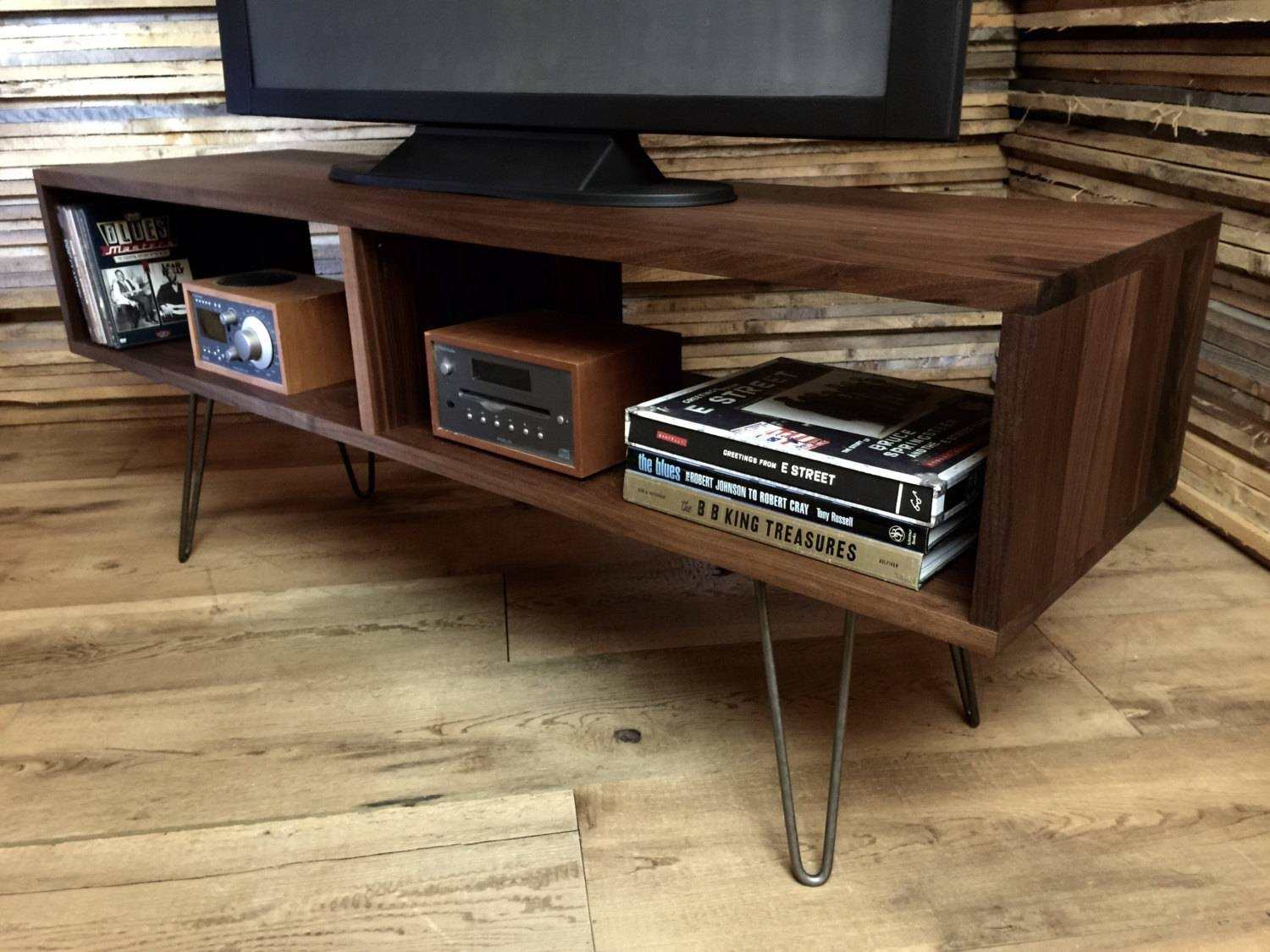 Hairpin Legs Mid Century Modern Dark Wood Media Console And Tv inside Hairpin Leg Tv Stands (Image 6 of 15)