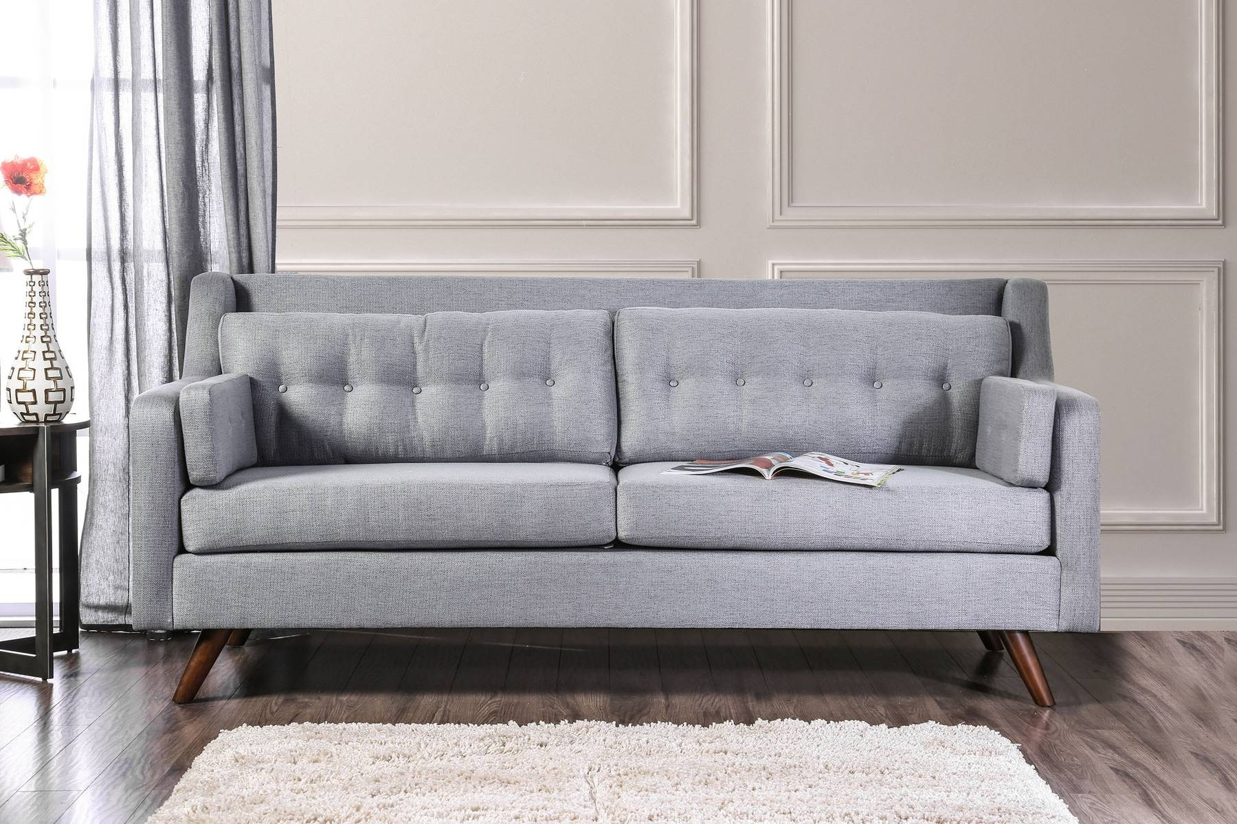 Hallie Gray Sofa Sm8821-Sf Furniture Of America Fabric Sofas At throughout Gray Sofas (Image 14 of 15)