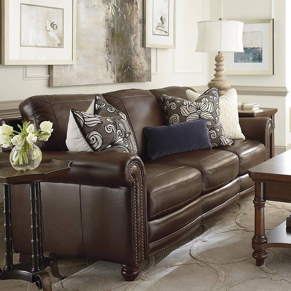 Hamilton Sofa - Leather | Living Room | Bassett Furniture pertaining to Hamilton Sofas (Image 5 of 15)