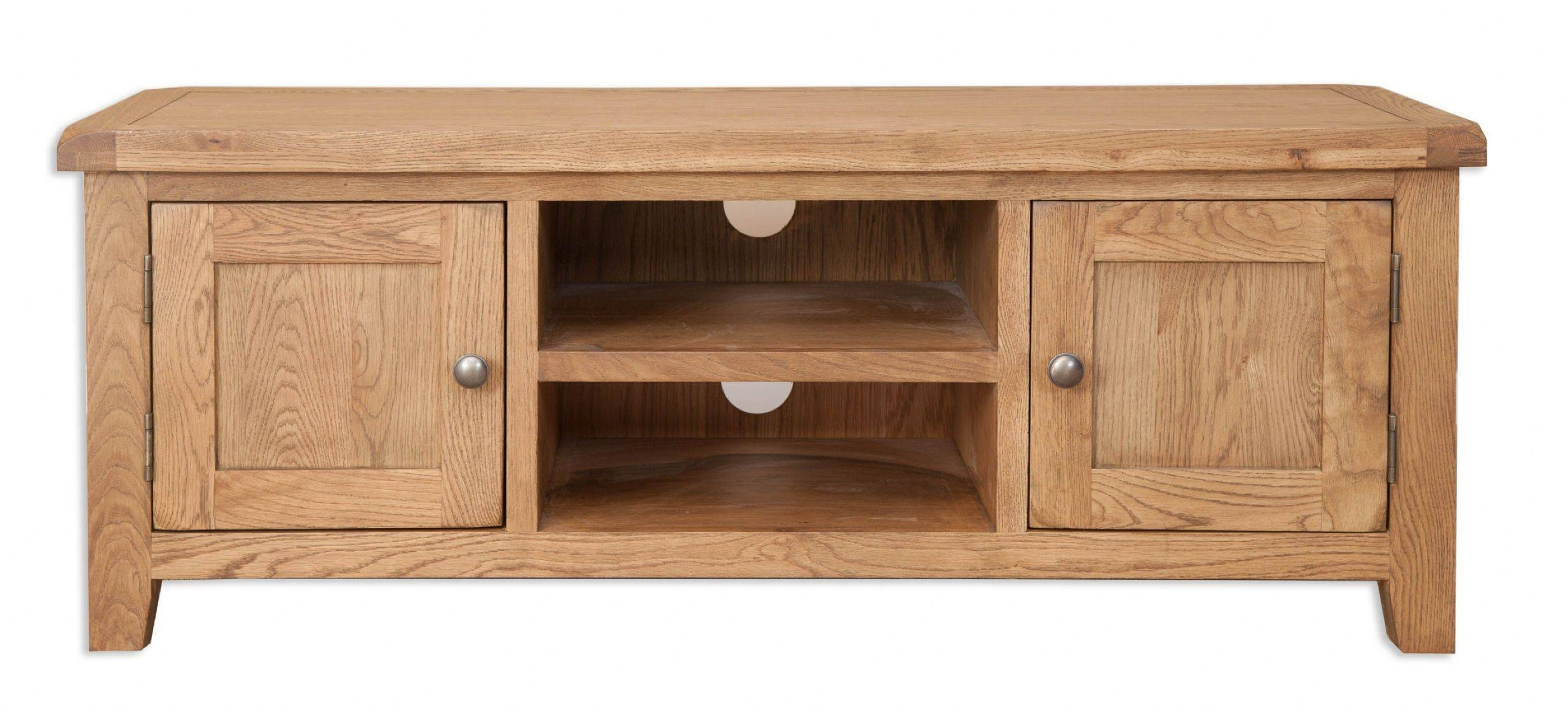 Hampton Natural Chunky Solid Oak Widescreen Tv Dvd Hifi Cabinet throughout Chunky Oak Tv Unit (Image 6 of 15)