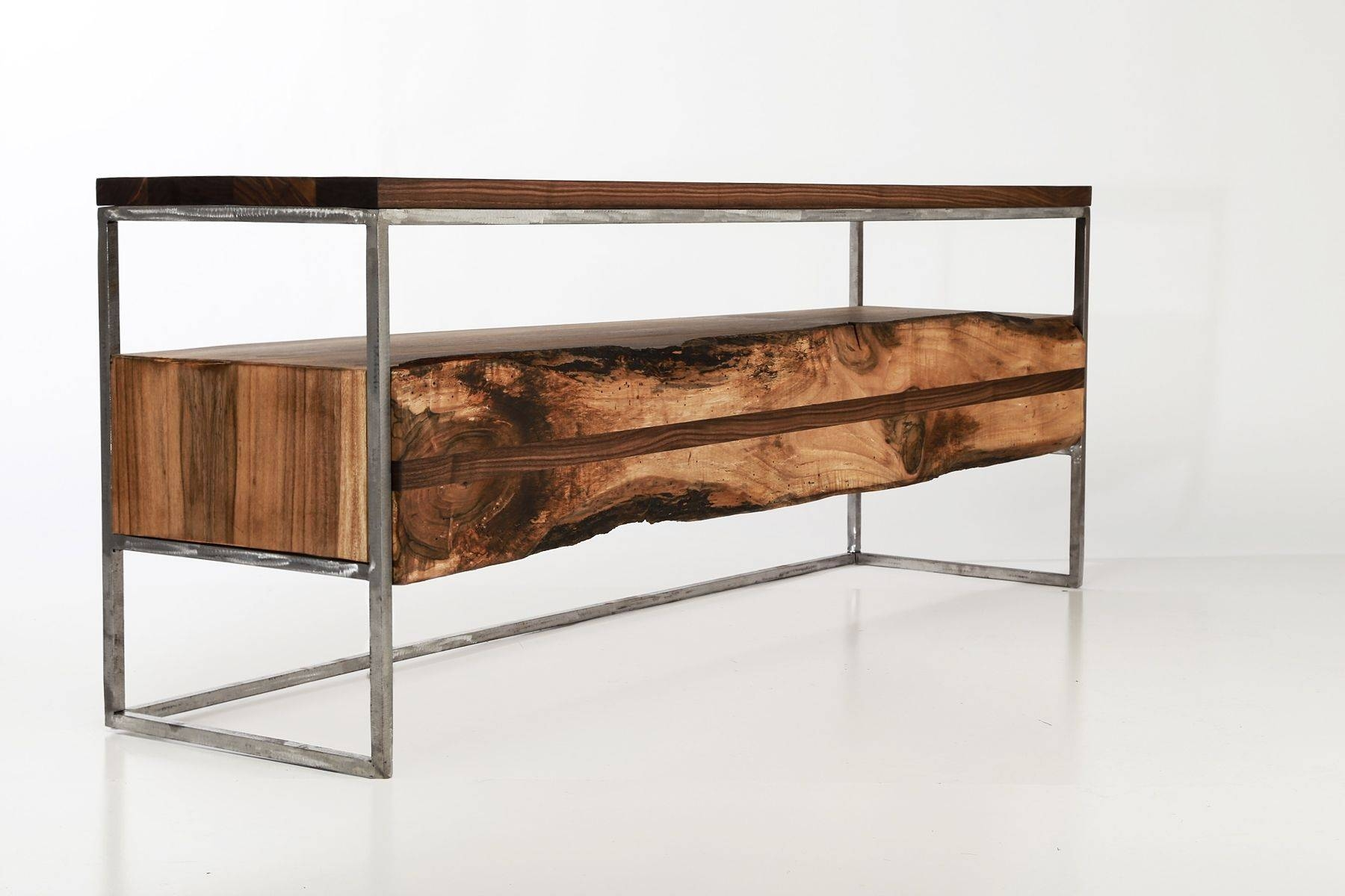 Hand Made Flitch Media Console/ Tv Stand Industrial Rustic throughout Industrial Tv Cabinets (Image 9 of 15)