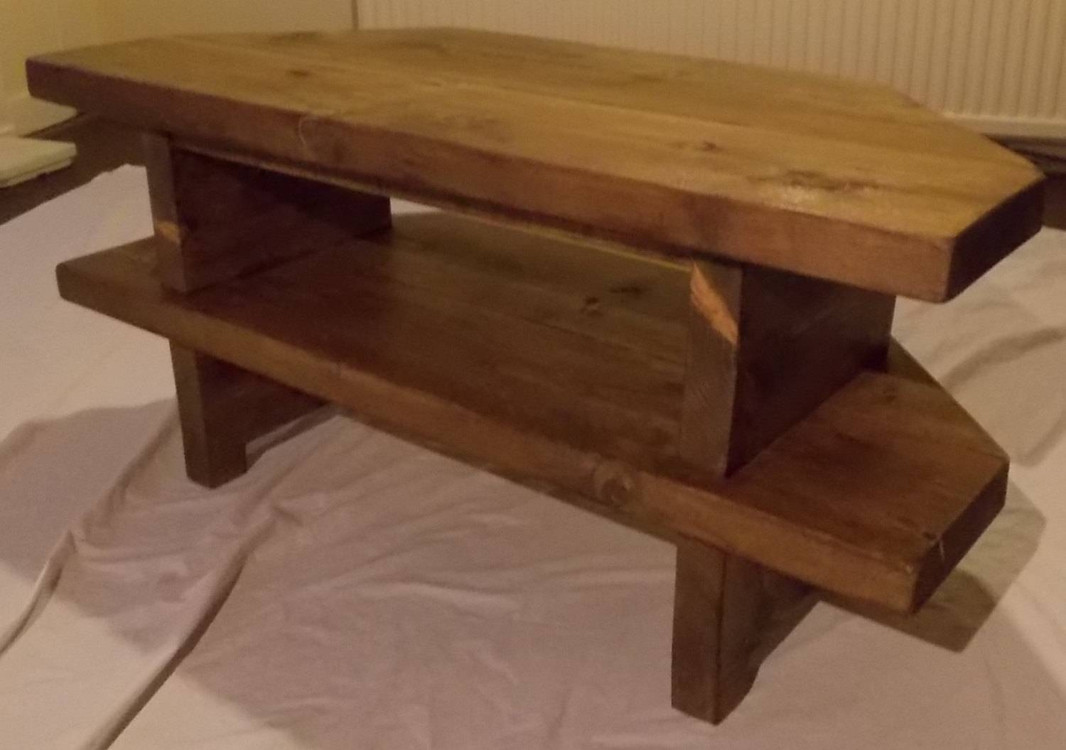 Hand Made Rustic Corner Tv Stand 028 for Rustic Corner Tv Stands (Image 6 of 15)