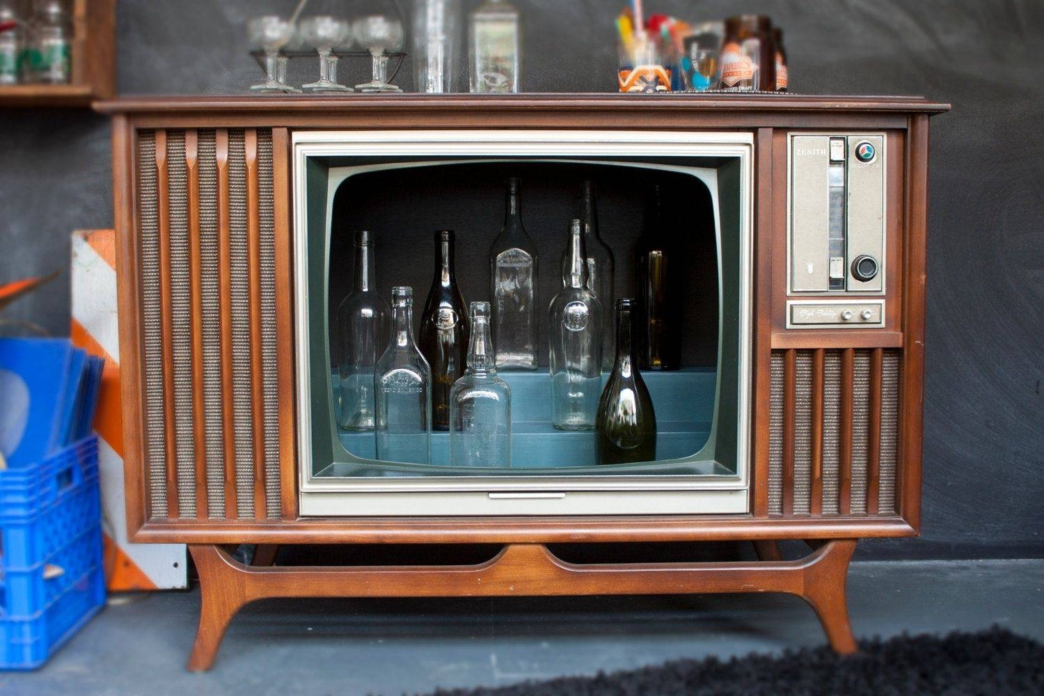 Hand Made Vintage Tv Television Cocktail Bar Cabinetwhisky for Vintage  Style Tv Cabinets (Image 4 - 15 Inspirations Of Vintage Style Tv Cabinets