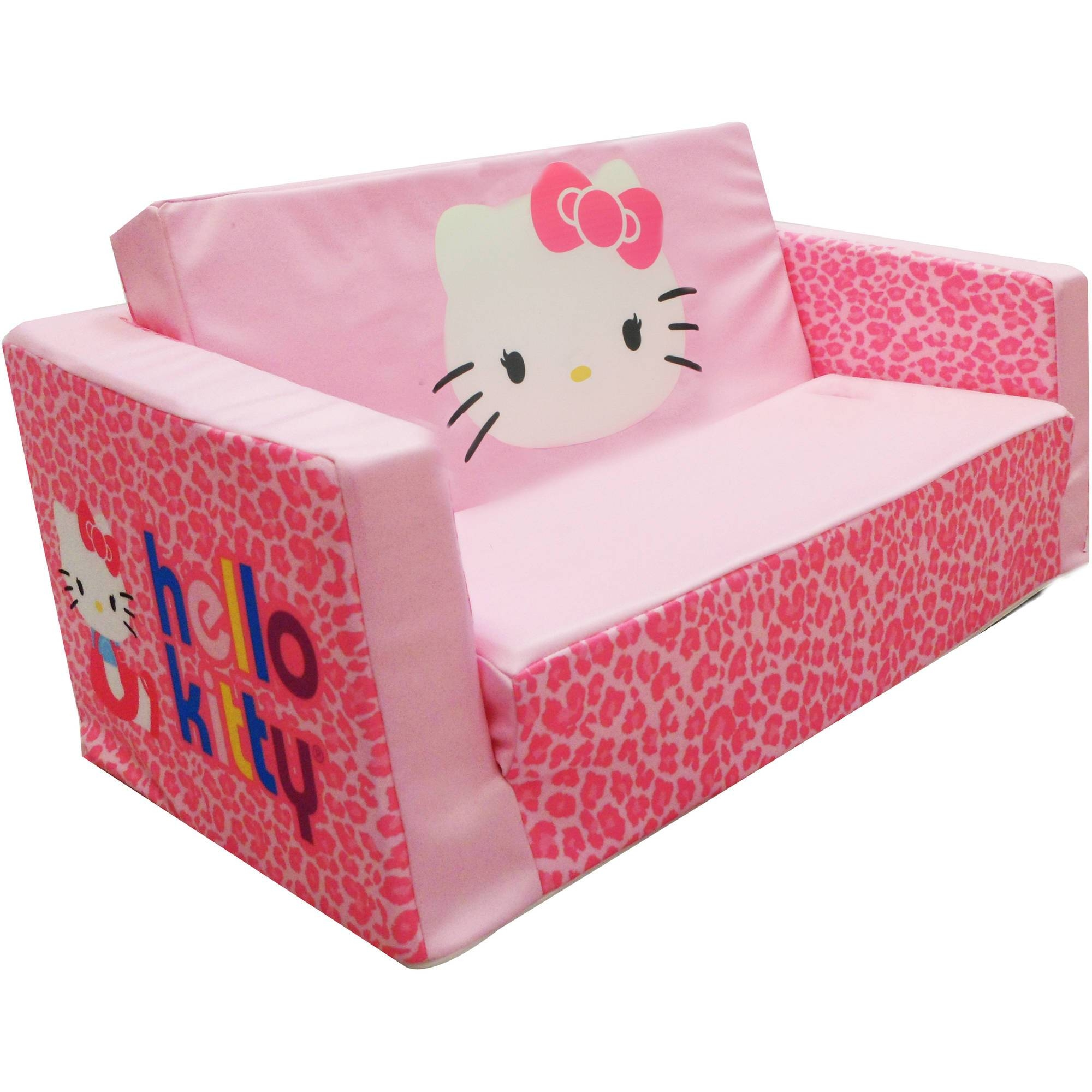Hello Kitty Bows Small Flip Sofa - Walmart intended for Flip Open Kids Sofas (Image 4 of 15)