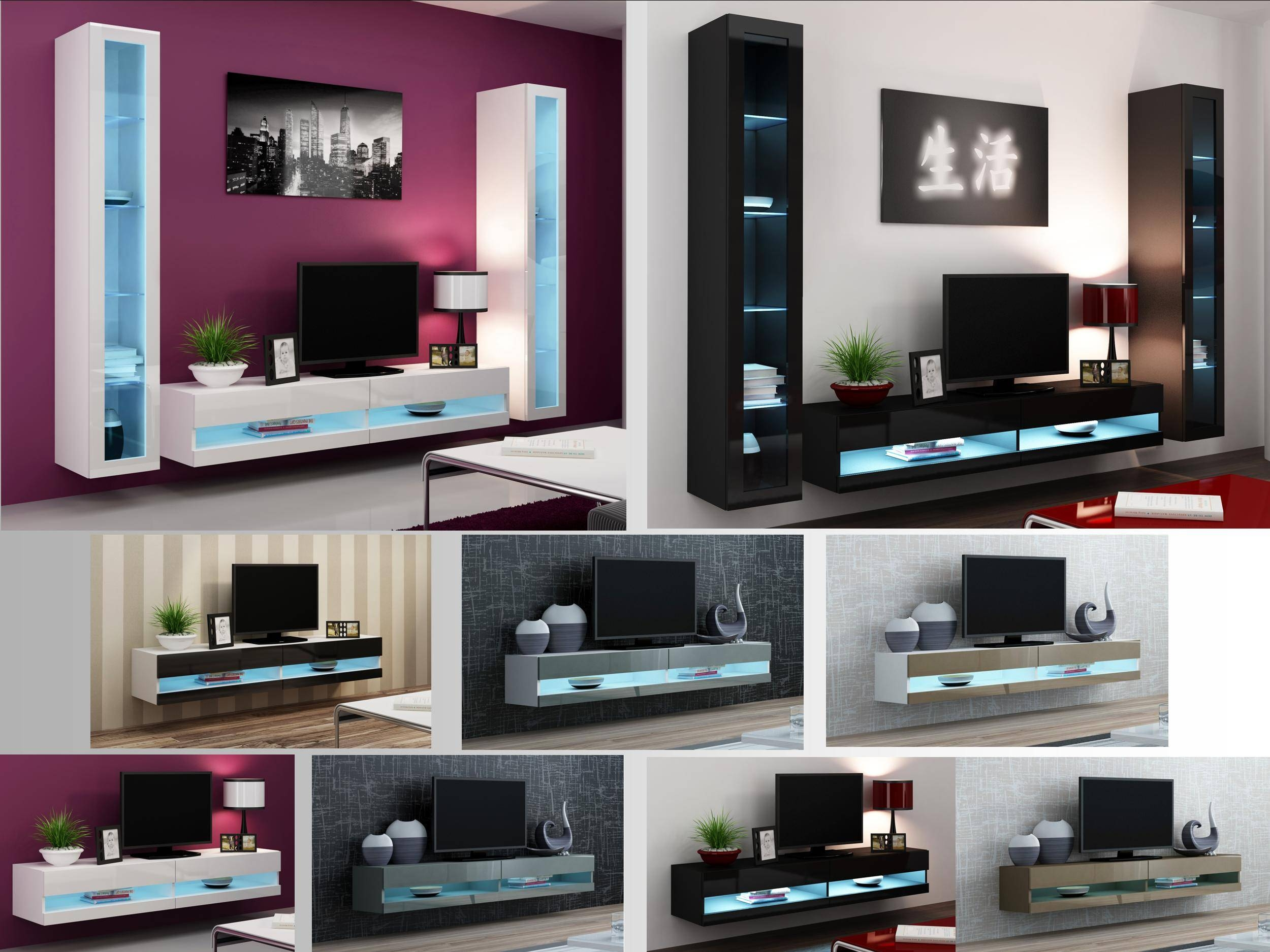 High Gloss Living Room Furniture   Tv Stand, Wall Mounted Cabinet With  Regard To Led Part 56