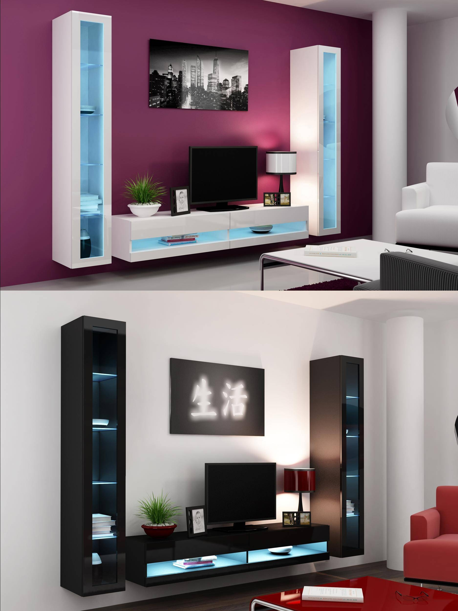 High Gloss Living Room Set With Led Lights, Tv Stand, Wall Mounted pertaining to Black Gloss Tv Wall Unit (Image 5 of 15)