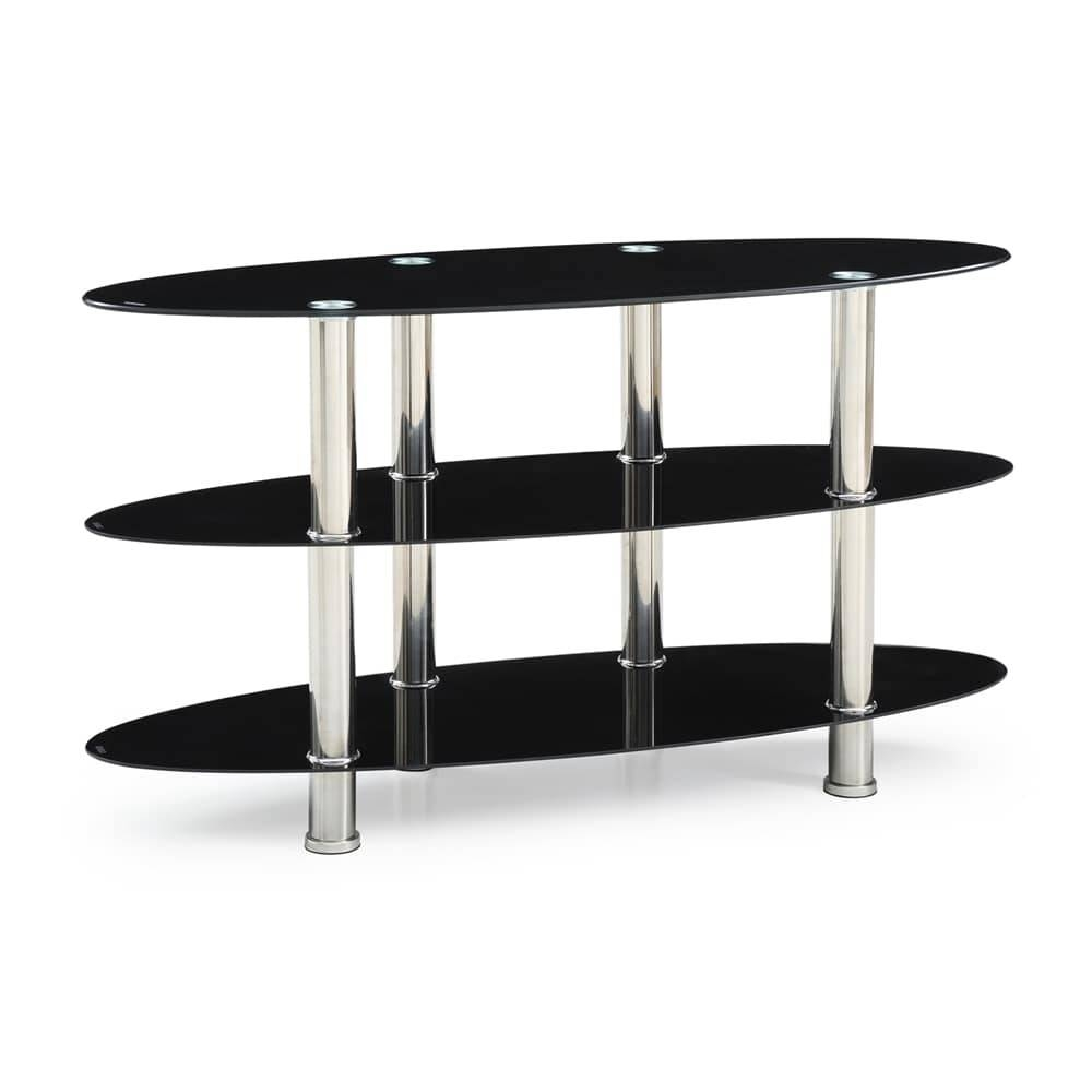 Hodedah Import Hitv2503 Oval Glass Tv Stand | The Mine in Oval Glass Tv Stands (Image 4 of 15)