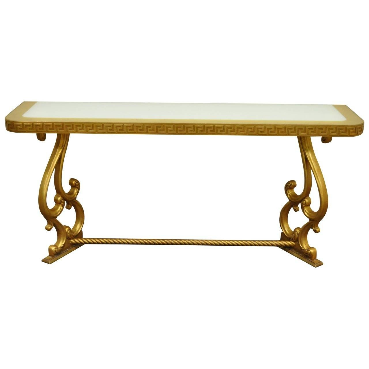 Hollywood Regency Gold Leaf Greek Key Console Table In The regarding Gold Sofa Tables (Image 5 of 15)