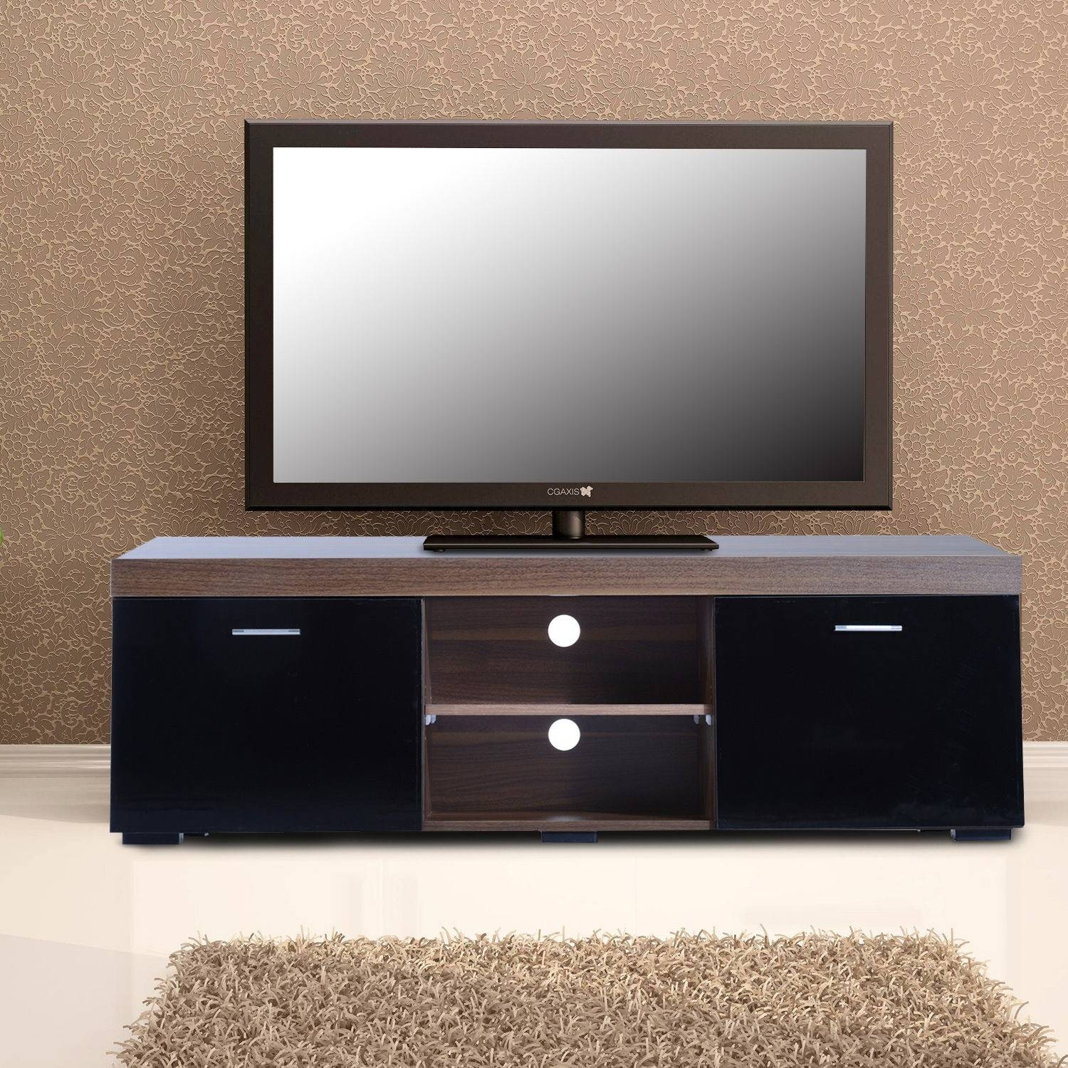 Homcom Tv Stand Storage Cabinet W/ Shelves Walnut/black |aosom.co (View 12 of 15)