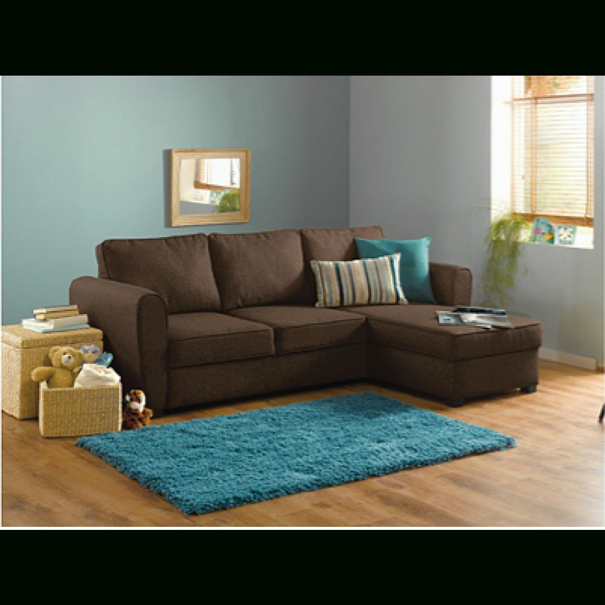 Home New Siena Fabric Corner Sofa Bed W/ Storage – Chocolate Regarding Corner Sofa Beds (View 9 of 15)