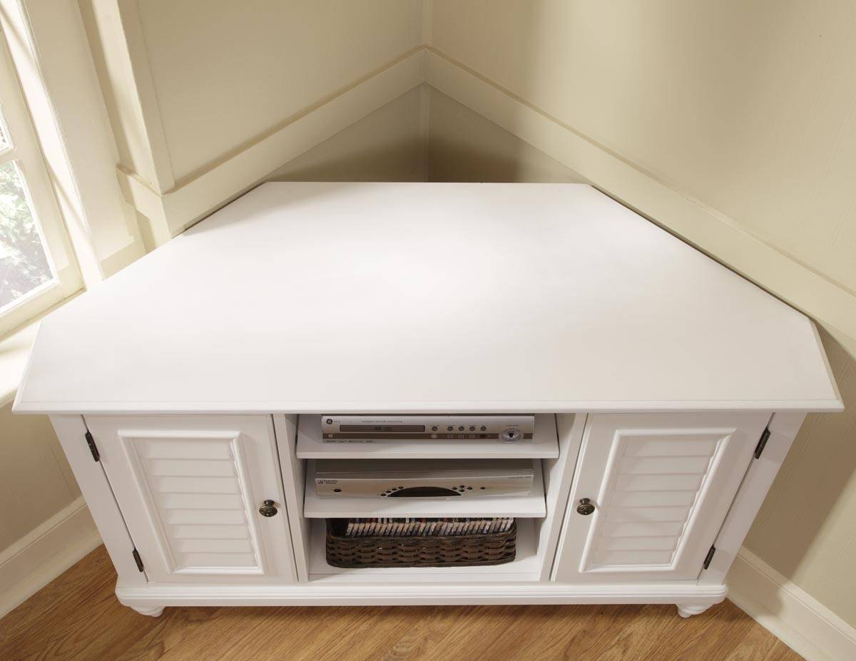 Home Styles 5543 07 Bermuda Brushed White Corner Tv Stand For Small White Tv Cabinets (View 8 of 15)