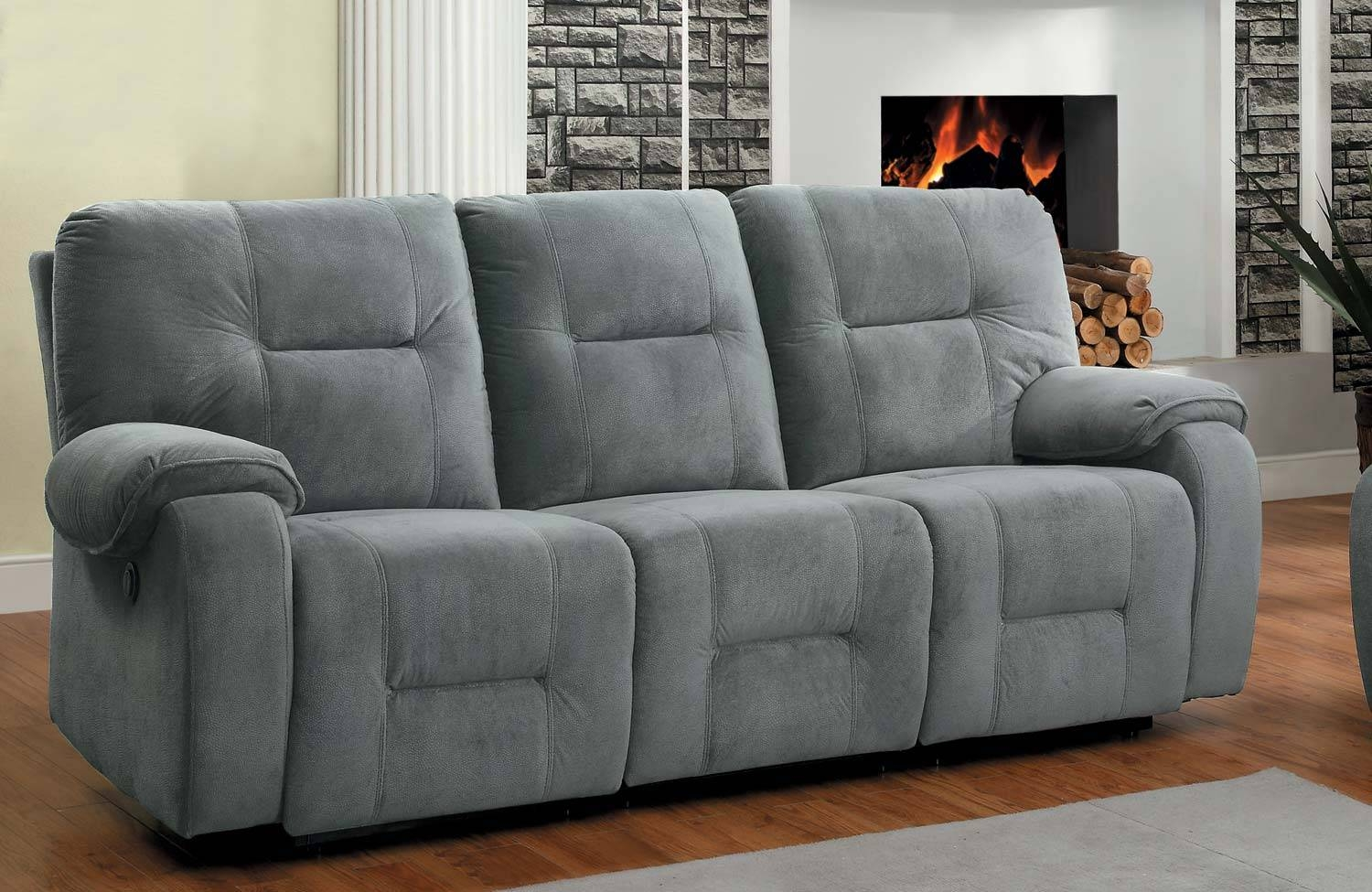 Homelegance Bensonhurst Power Double Reclining Sofa - Blue Grey regarding Blue Grey Sofas (Image 9 of 15)