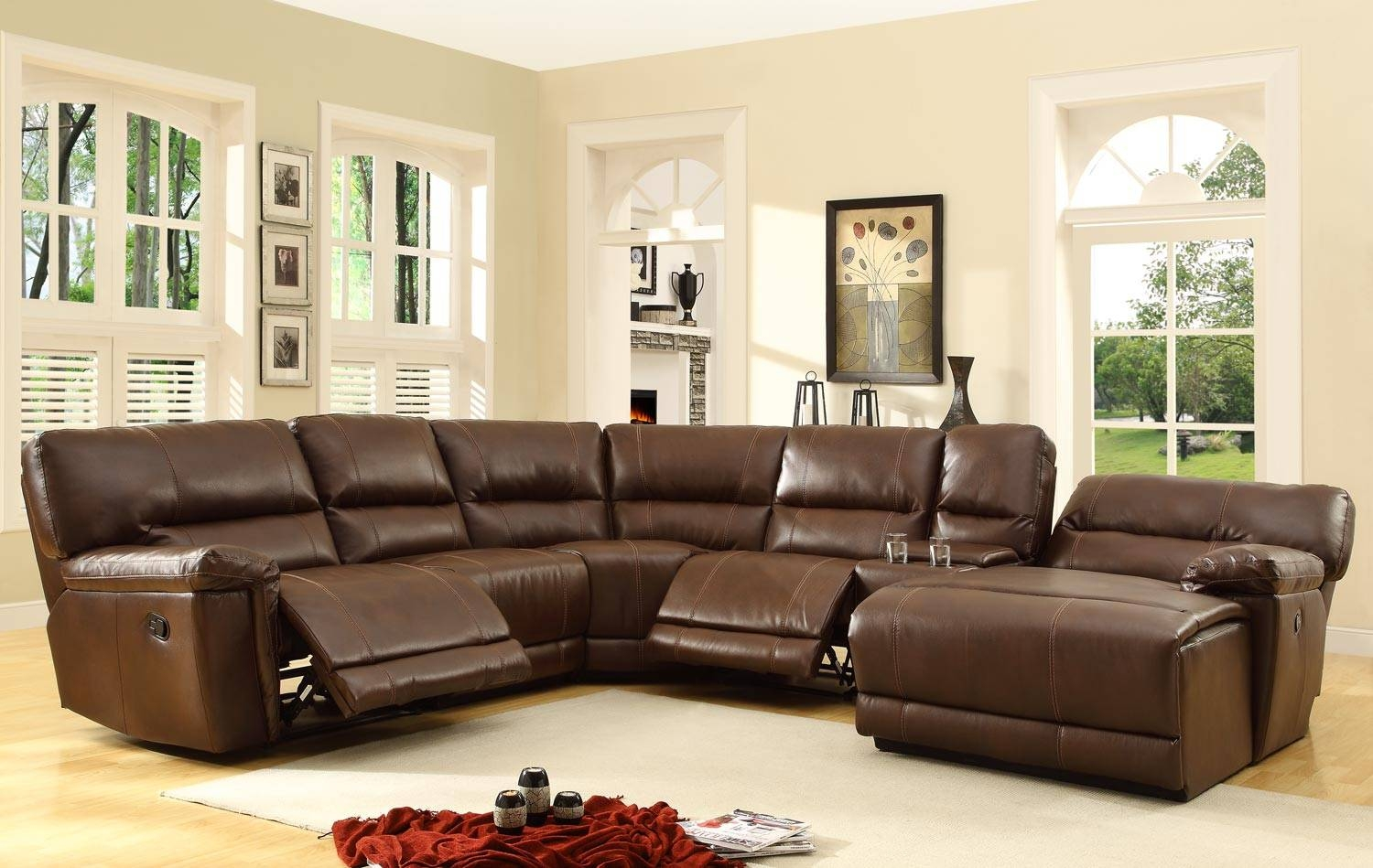 Homelegance Blythe Sectional Sofa Set - Brown - Bonded Leather within Homelegance Sofas (Image 4 of 15)