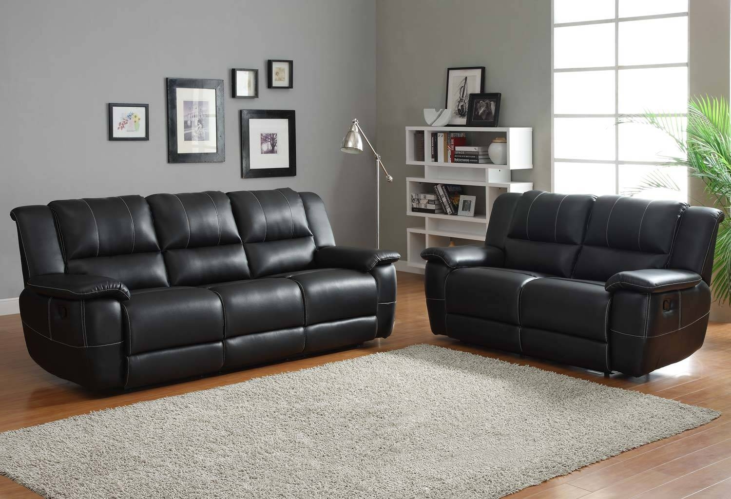 Homelegance Cantrell Reclining Sofa Set   Black   Bonded Leather Regarding Black Leather Sofas And Loveseats (Photo 4 of 15)