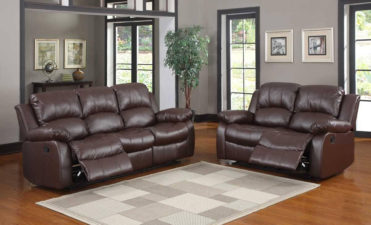Homelegance Cranley Reclining Sofa Set - Brown Bonded Leather inside Homelegance Sofas (Image 6 of 15)