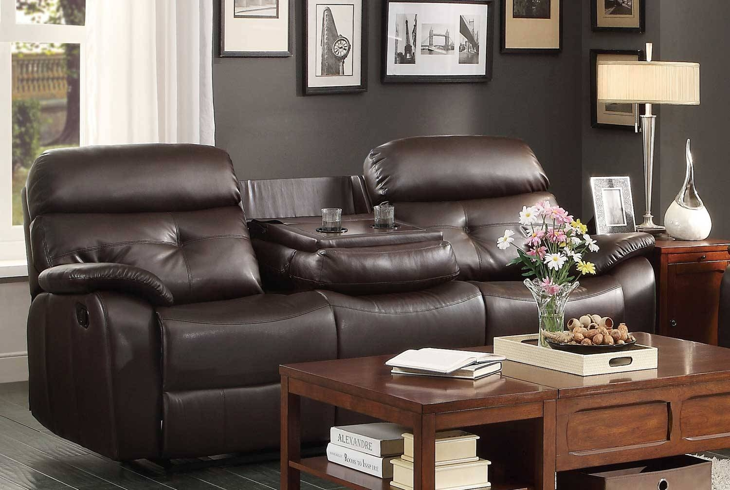 Homelegance Evana Double Reclining Sofa With Drop-Down Center Cup for Sofas With Cup Holders (Image 5 of 15)