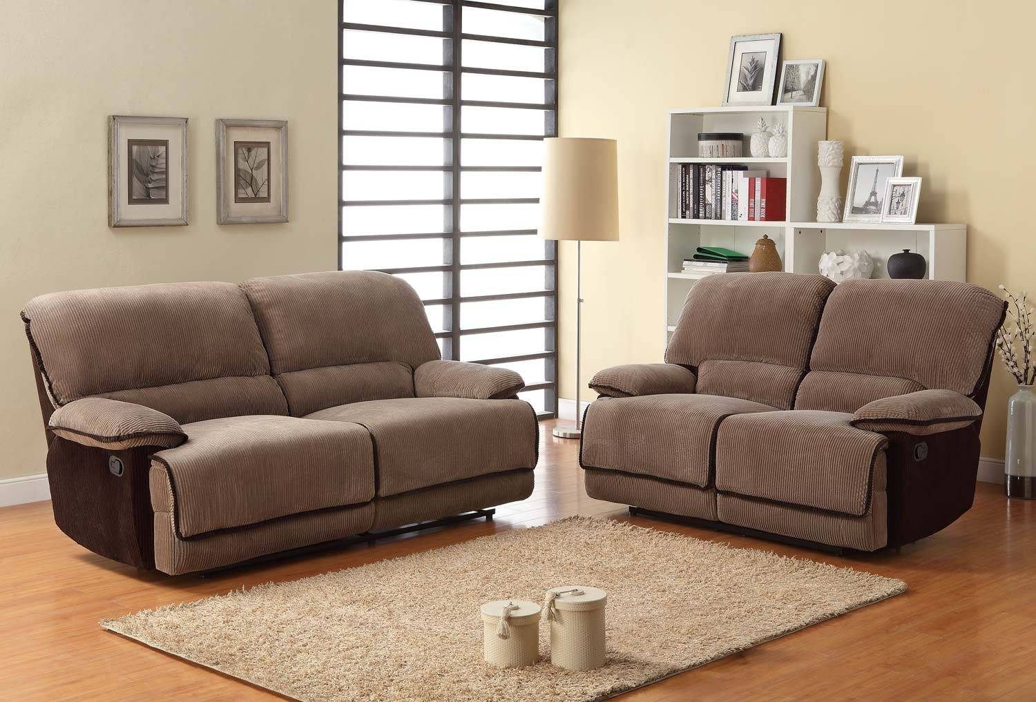 Homelegance Grantham Reclining Sofa Set - Brown - Corduroy U9717-3 intended for Brown Corduroy Sofas (Image 6 of 15)