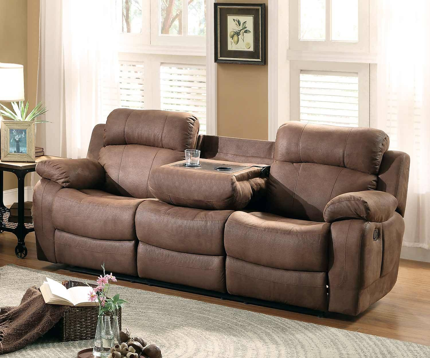 Homelegance Marille Double Reclining Sofa With Center Drop-Down throughout Sofas With Drink Holder (Image 6 of 15)