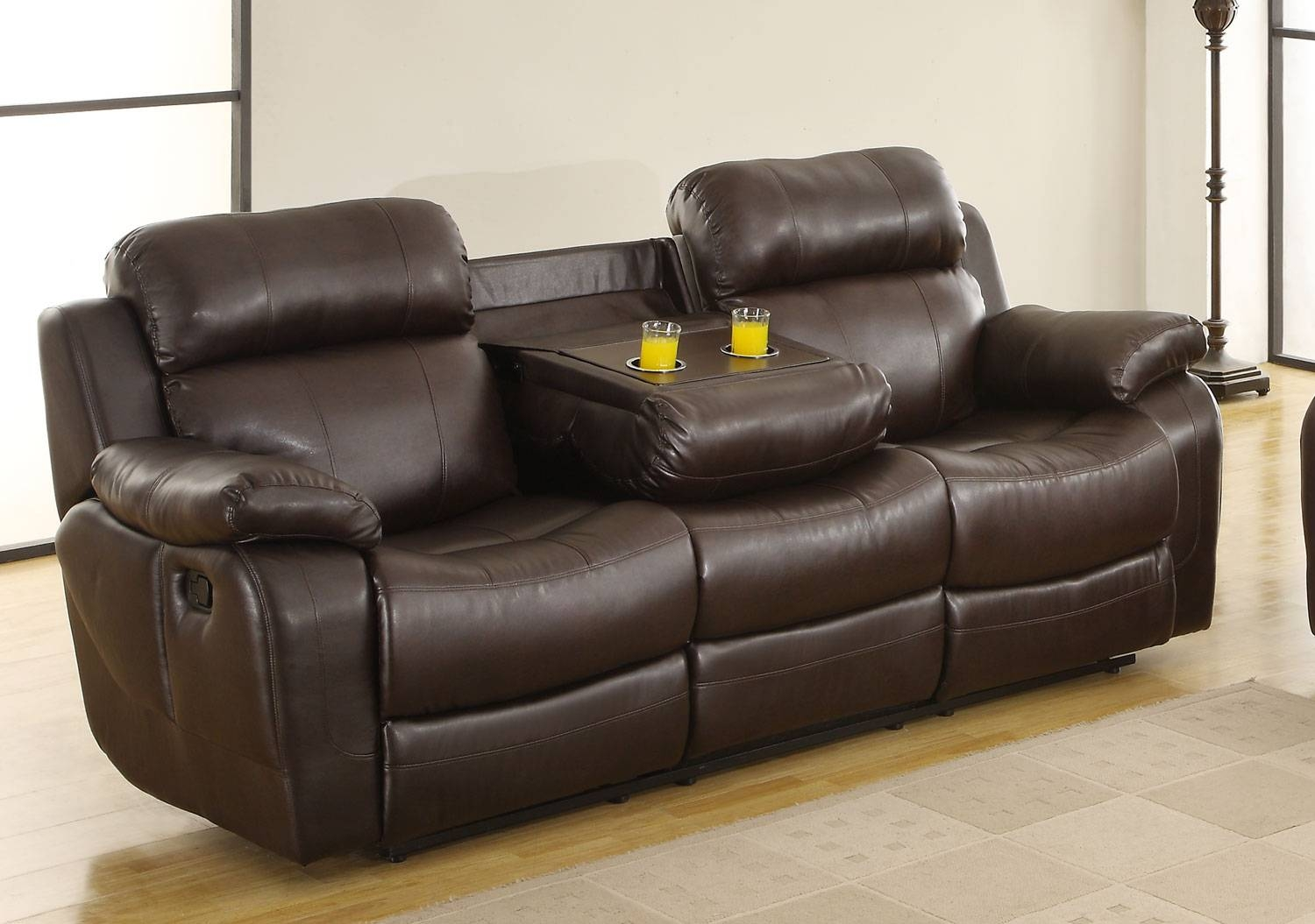 Homelegance Marille Sofa Recliner With Drop Cup Holder - Dark with regard to Sofas With Cup Holders (Image 8 of 15)