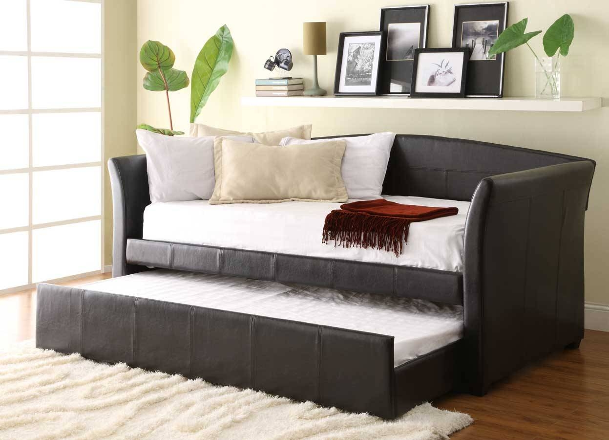 Homelegance Meyer Daybed With Trundle - Dark Brown Bi-Cast 4956Pu inside Sofa Beds With Trundle (Image 11 of 15)