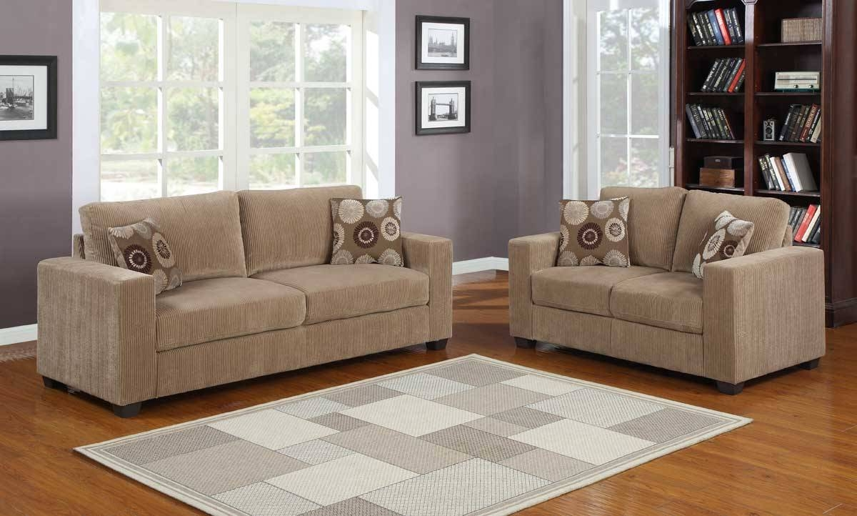 Homelegance Paramus Sofa Set - Brown Corduroy U9738-3 intended for Brown Corduroy Sofas (Image 9 of 15)